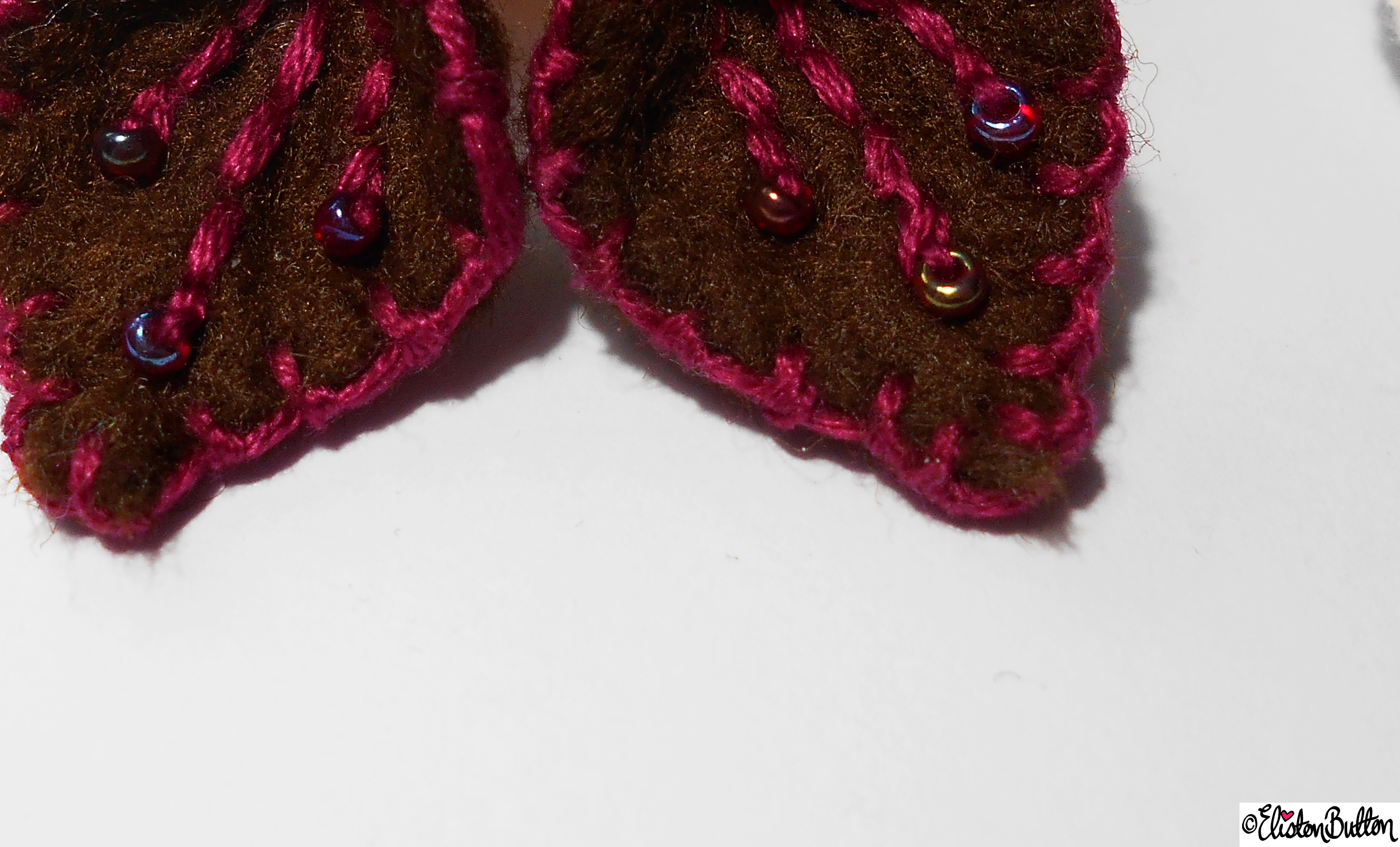 Raspberry and Chocolate  Felt Earrings and Tag Close Up - Create 28 - No.2 - Embroidered Felt Petal Earrings at www.elistonbutton.com - Eliston Button - That Crafty Kid – Art, Design, Craft & Adventure.