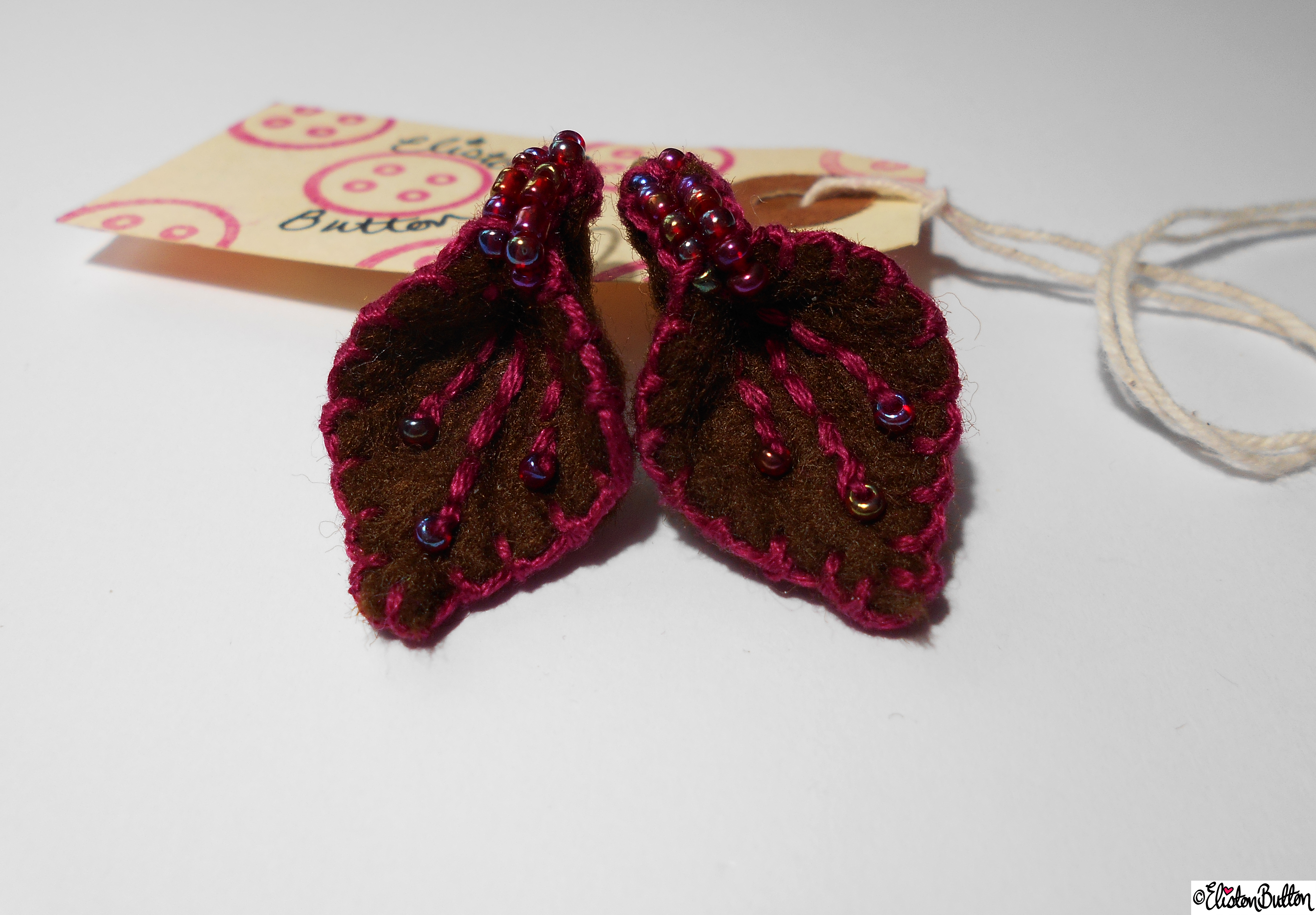 Raspberry and Chocolate  Felt Earrings and Tag - Create 28 - No.2 - Embroidered Felt Petal Earrings at www.elistonbutton.com - Eliston Button - That Crafty Kid – Art, Design, Craft & Adventure.