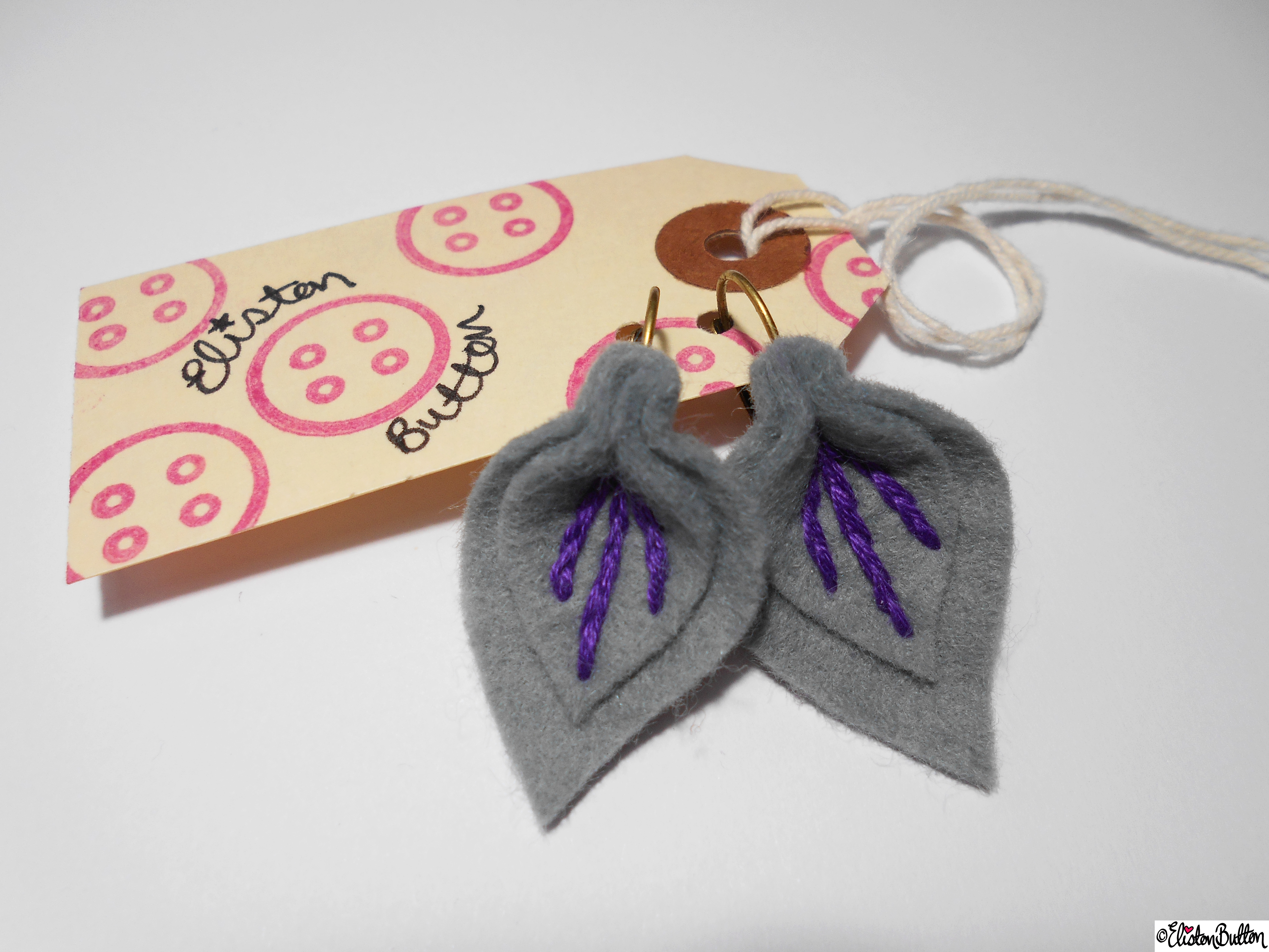 Slate and Berry Coloured Embroidered Felt Petal Earrings on Packaging Tag - Create 28 - No.2 - Embroidered Felt Petal Earrings at www.elistonbutton.com - Eliston Button - That Crafty Kid – Art, Design, Craft & Adventure.