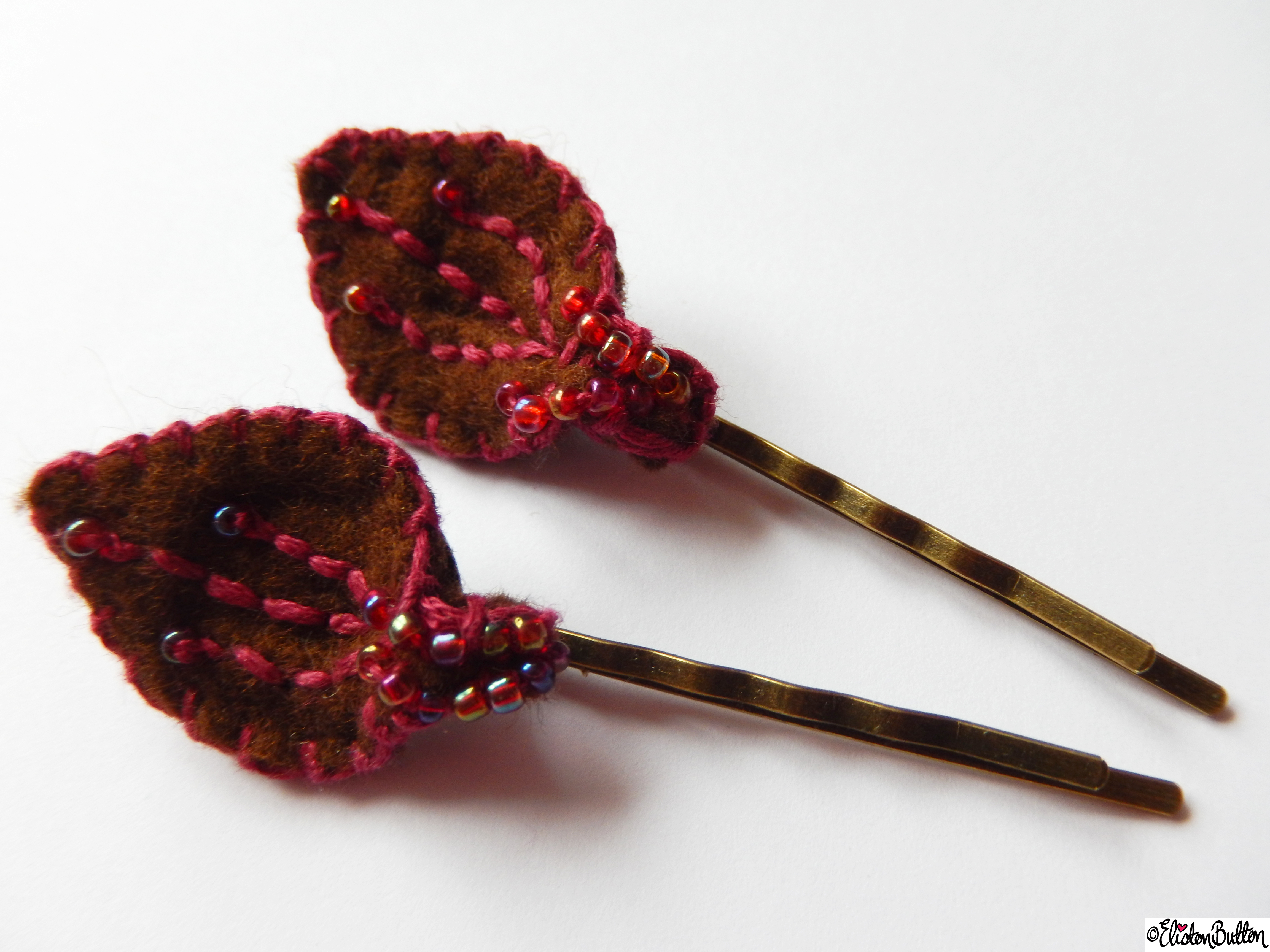 Chocolate Brown and Raspberry Pink Embroidered and Beaded Hair Grips - Create 28 - No.4 - Embroidered Felt Petal Hair Grips at www.elistonbutton.com - Eliston Button - That Crafty Kid – Art, Design, Craft & Adventure.