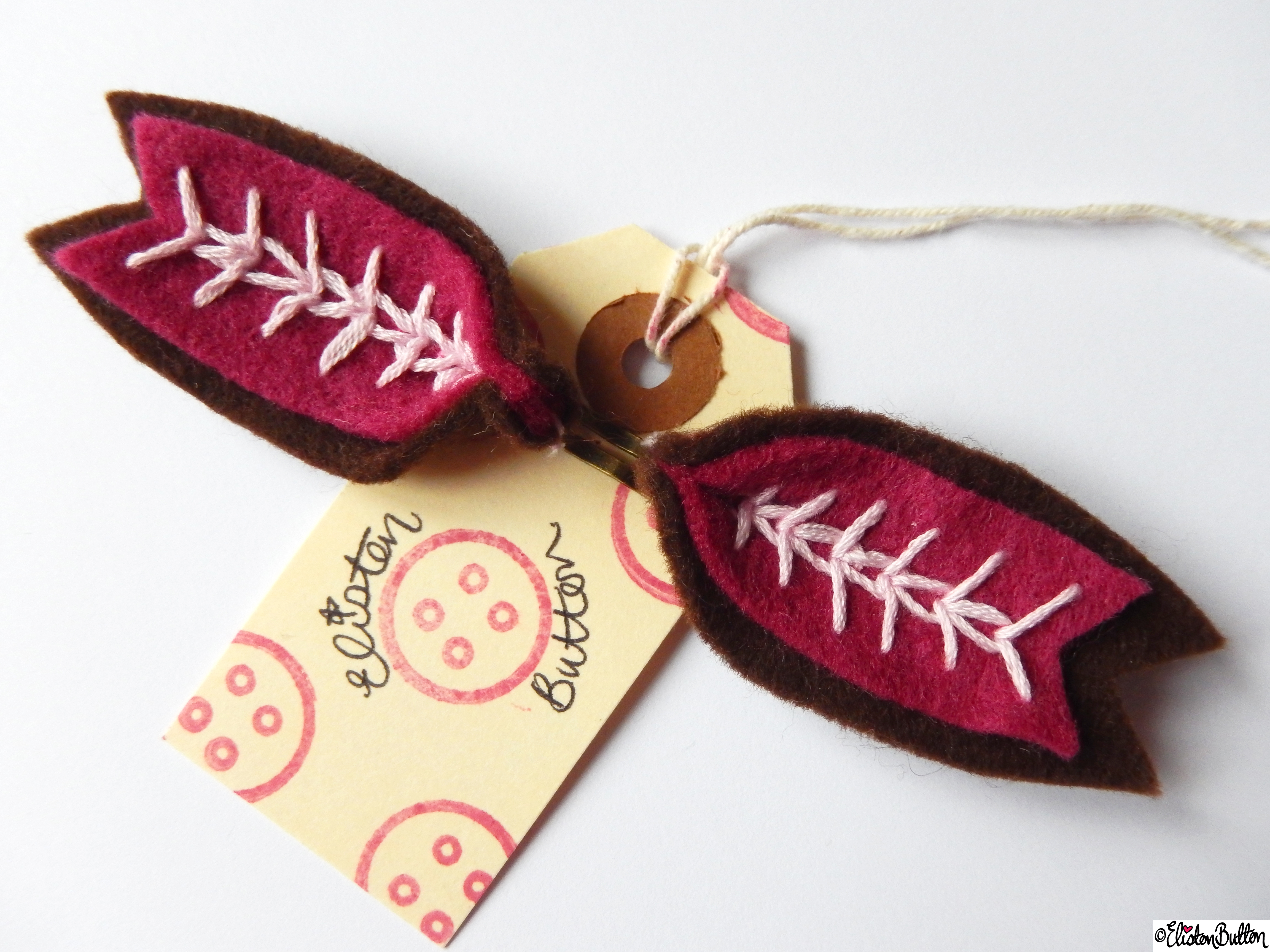 Chocolate Brown, Raspberry Pink and Pastel Pink Embroidered Hair Grips on Branded Luggage Tag - Create 28 - No.4 - Embroidered Felt Petal Hair Grips at www.elistonbutton.com - Eliston Button - That Crafty Kid – Art, Design, Craft & Adventure.