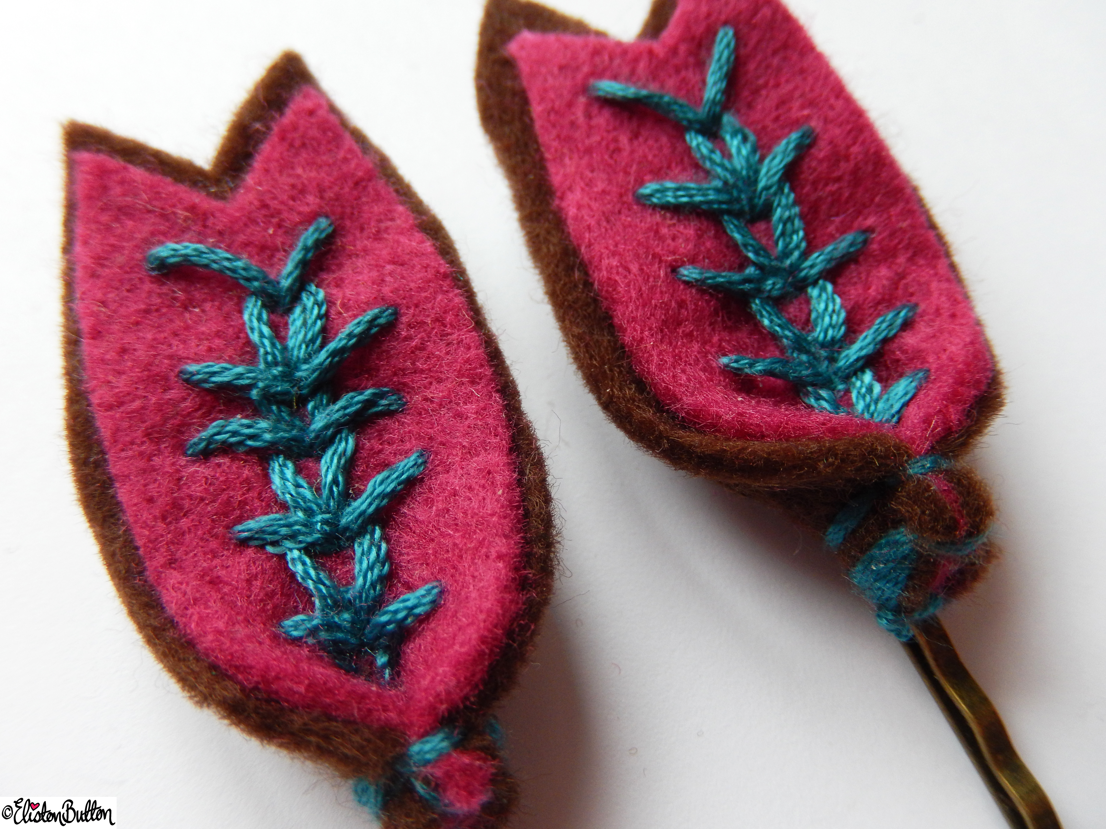 Chocolate Brown, Raspberry Pink and Teal Embroidered Hair Grips Closer Up - Create 28 - No.4 - Embroidered Felt Petal Hair Grips at www.elistonbutton.com - Eliston Button - That Crafty Kid – Art, Design, Craft & Adventure.
