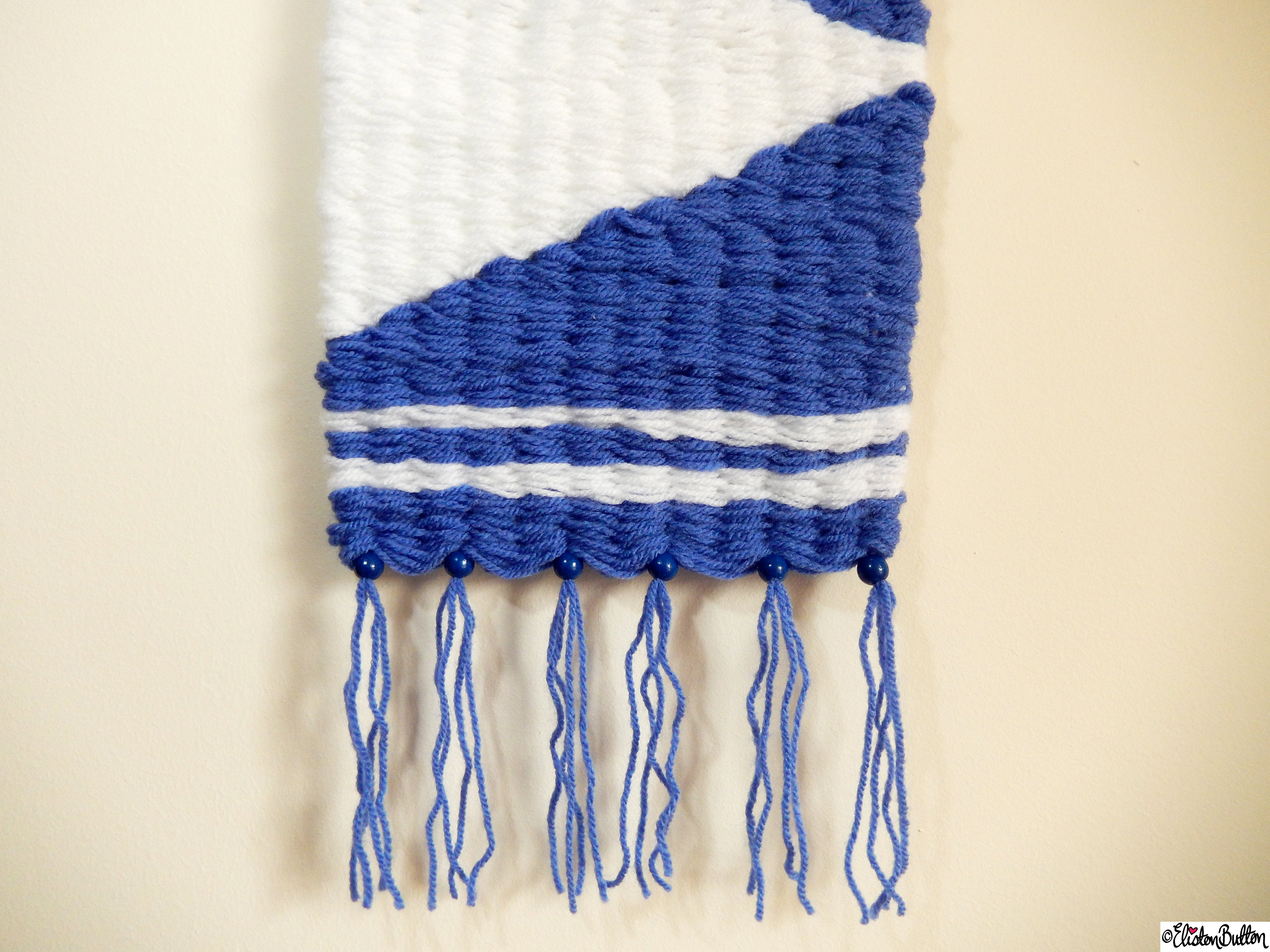 Nautical Inspired Blue and White Woven Wall Hanging Bottom Section Tassels - Create 28 - No. 7&8 - Woven Wall Hangings at www.elistonbutton.com - Eliston Button - That Crafty Kid – Art, Design, Craft & Adventure.