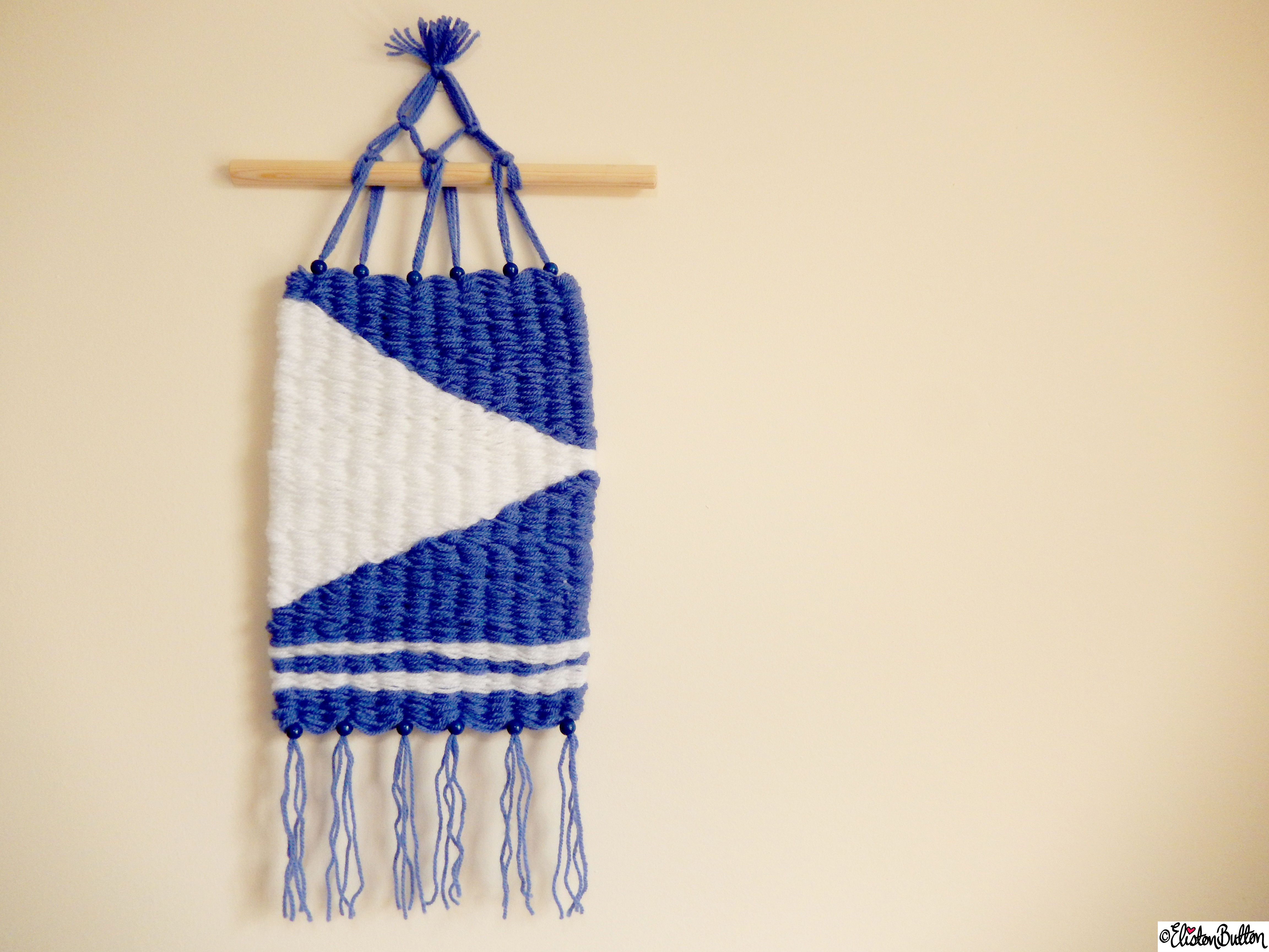 Nautical Inspired Blue and White Woven Wall Hanging - Create 28 - No. 7&8 - Woven Wall Hangings at www.elistonbutton.com - Eliston Button - That Crafty Kid – Art, Design, Craft & Adventure.