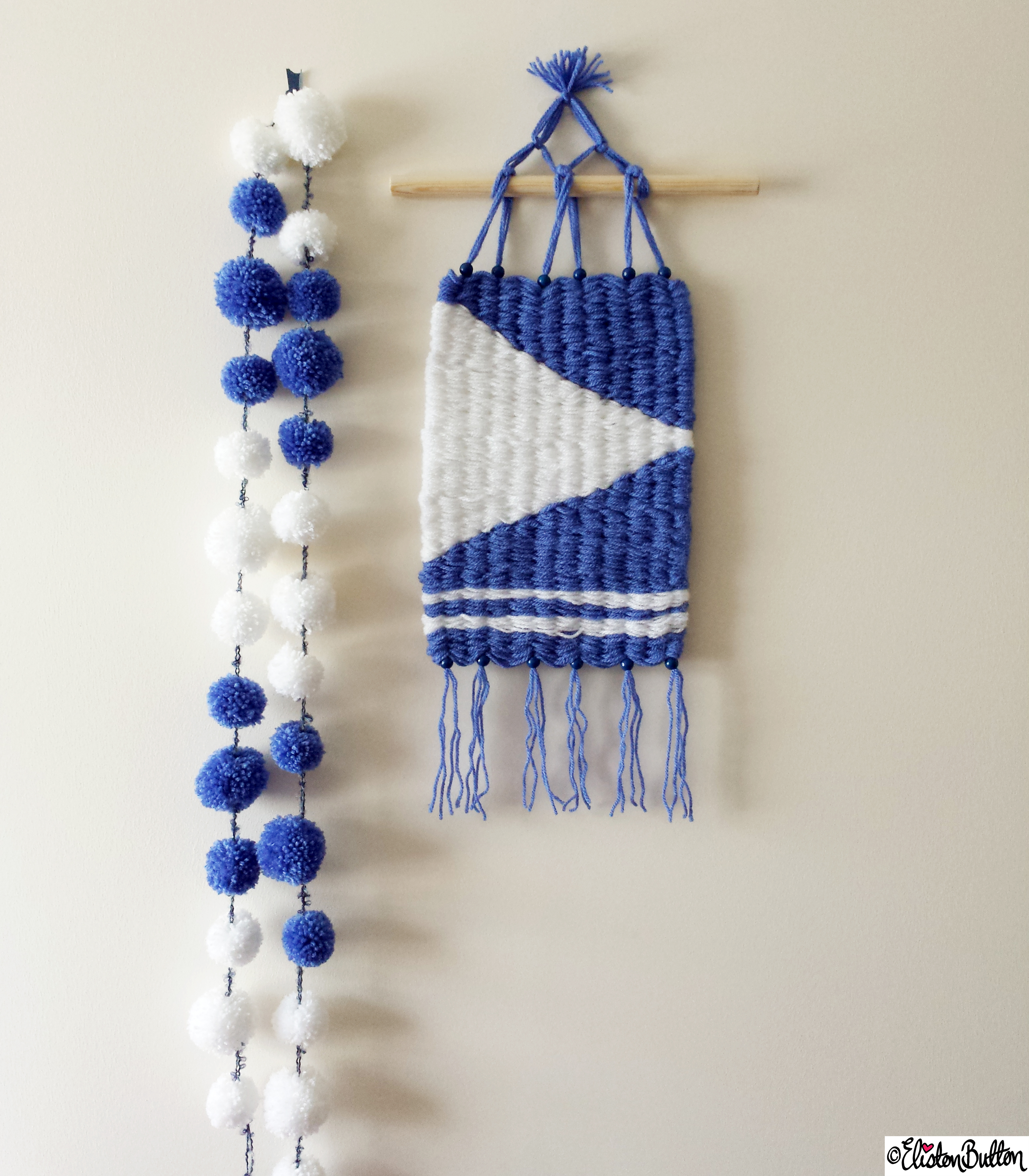 Nautical Inspired Woven Wall Hanging and Pom Pom Garland - Create 28 - No. 7&8 - Woven Wall Hangings at www.elistonbutton.com - Eliston Button - That Crafty Kid – Art, Design, Craft & Adventure.