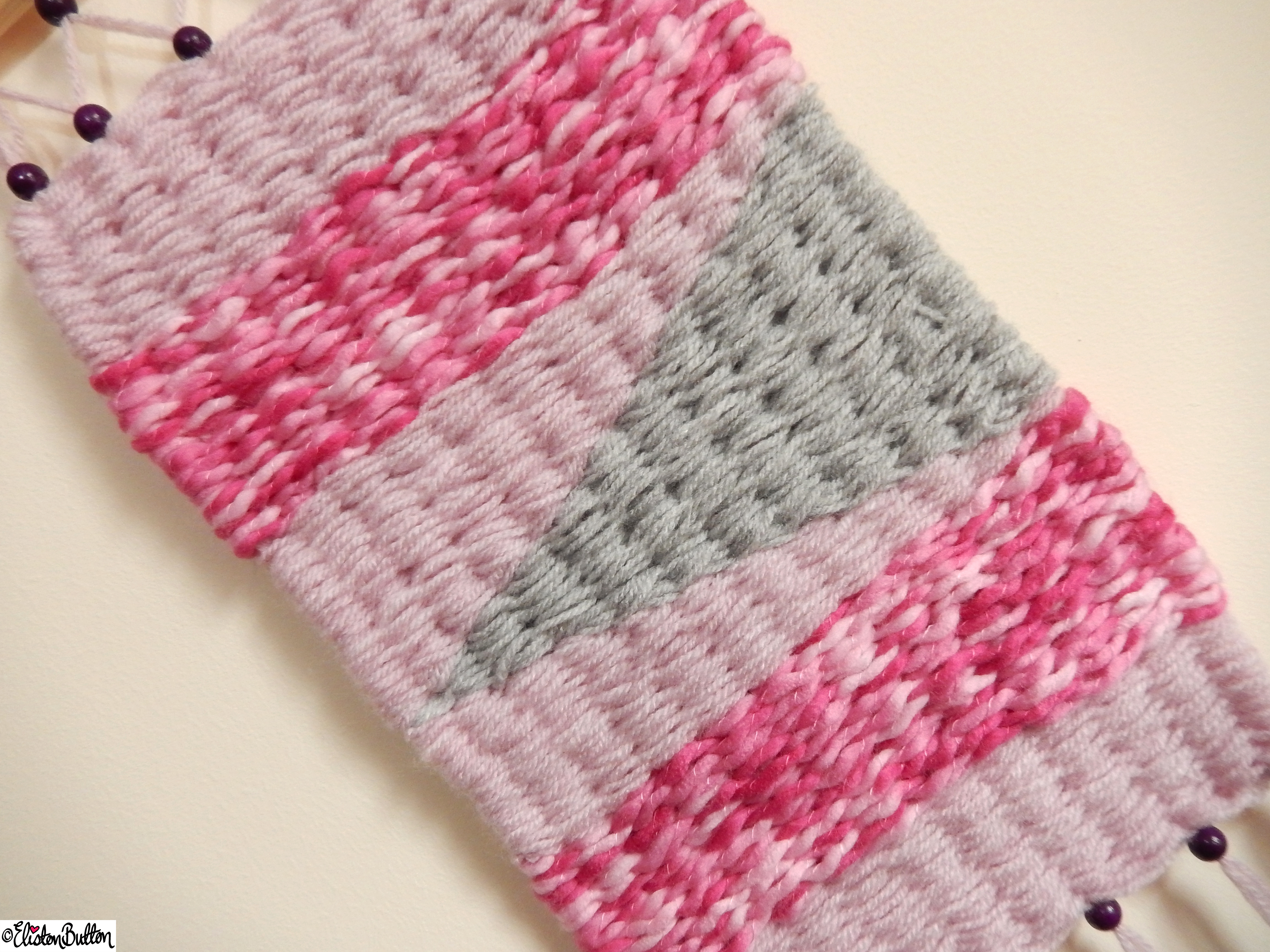 Pretty Pink and Dusky Grey Woven Wall Hanging Middle Section Close Up - Create 28 - No. 7&8 - Woven Wall Hangings at www.elistonbutton.com - Eliston Button - That Crafty Kid – Art, Design, Craft & Adventure.