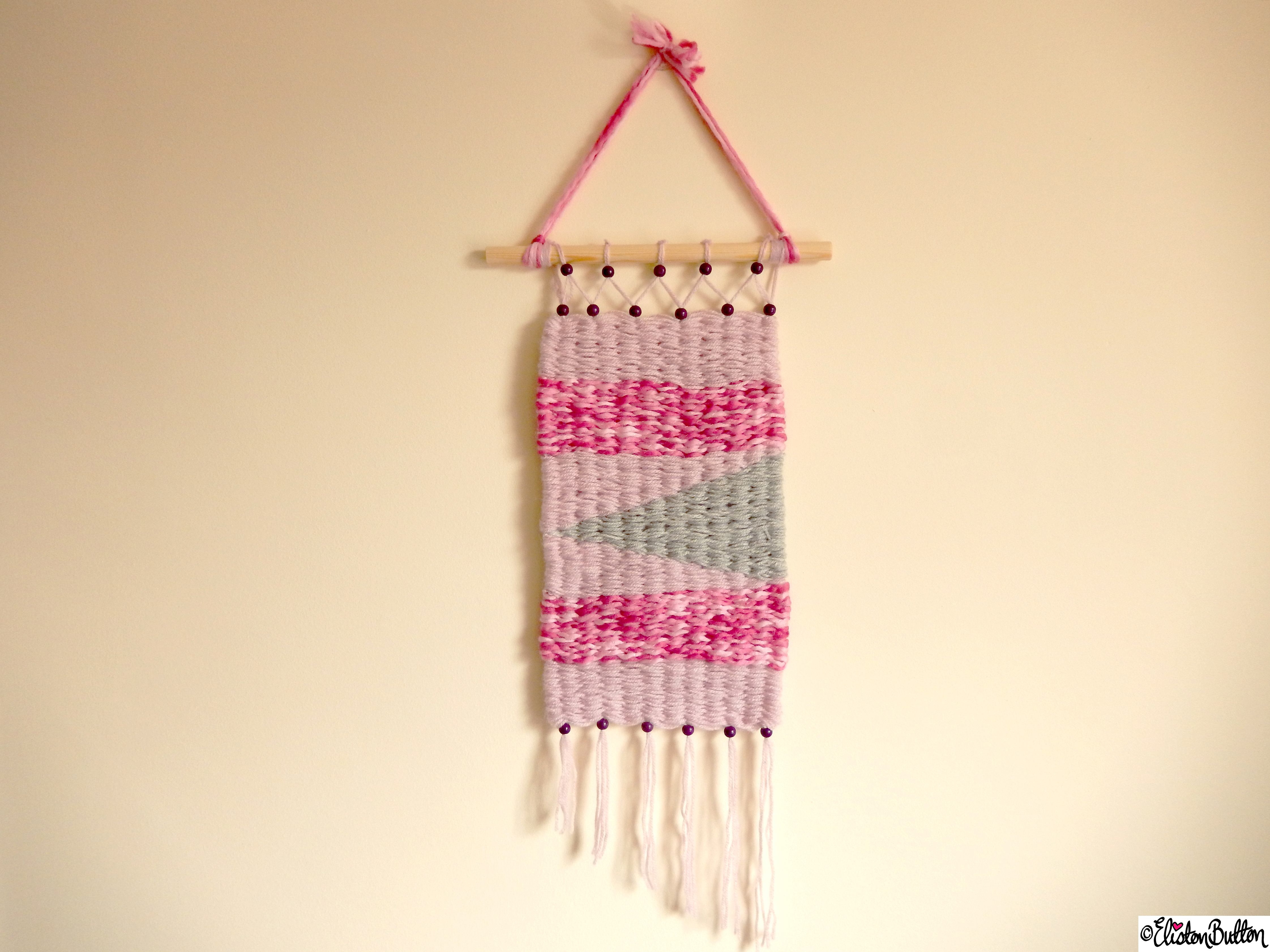 Pretty Pink and Dusky Grey Woven Wall Hanging - Create 28 - No. 7&8 - Woven Wall Hangings at www.elistonbutton.com - Eliston Button - That Crafty Kid – Art, Design, Craft & Adventure.