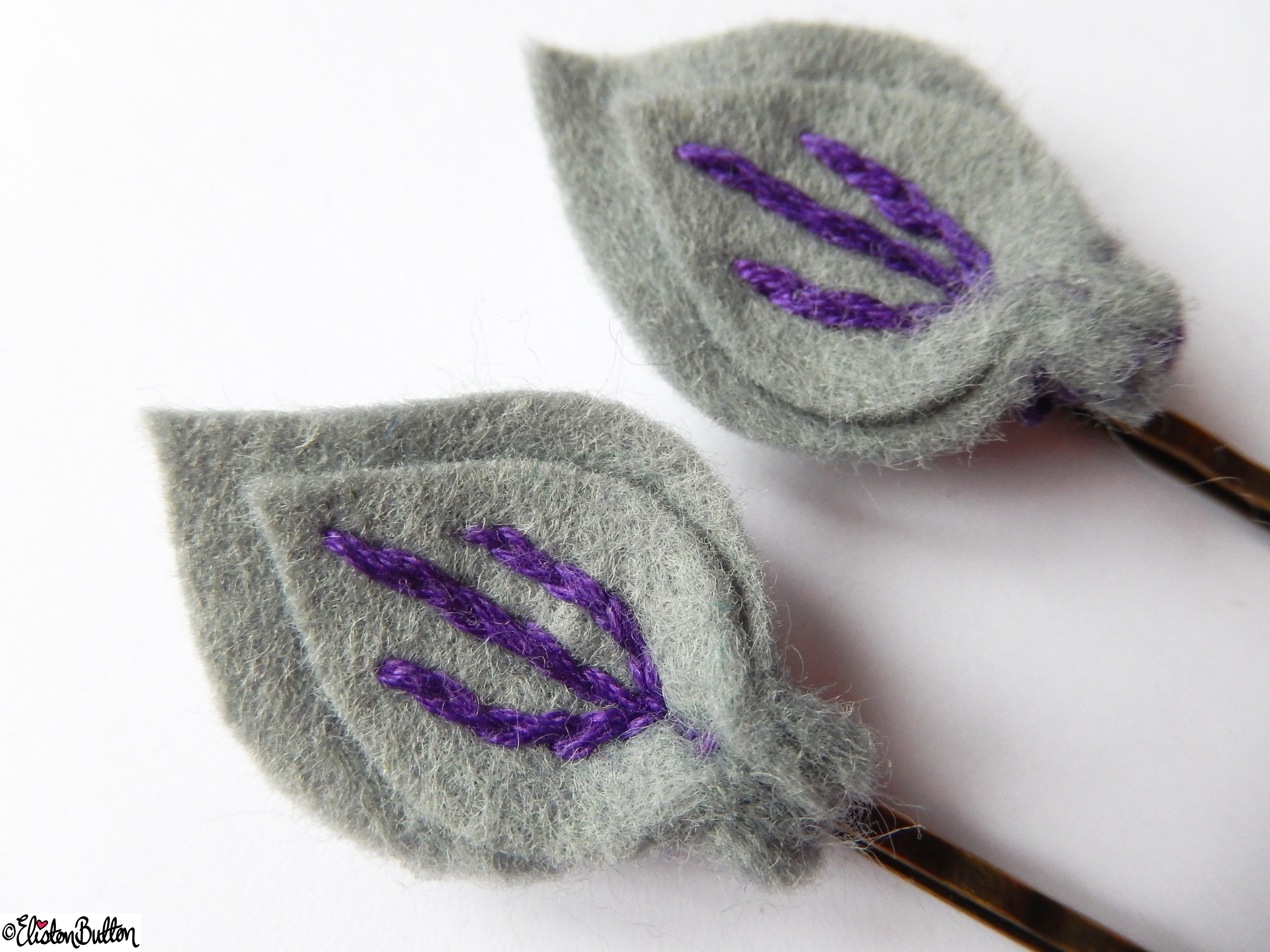 Slate Grey and Purple Berry Embroidered Felt Hair Grips Close Up - Create 28 - No.4 - Embroidered Felt Petal Hair Grips at www.elistonbutton.com - Eliston Button - That Crafty Kid – Art, Design, Craft & Adventure.