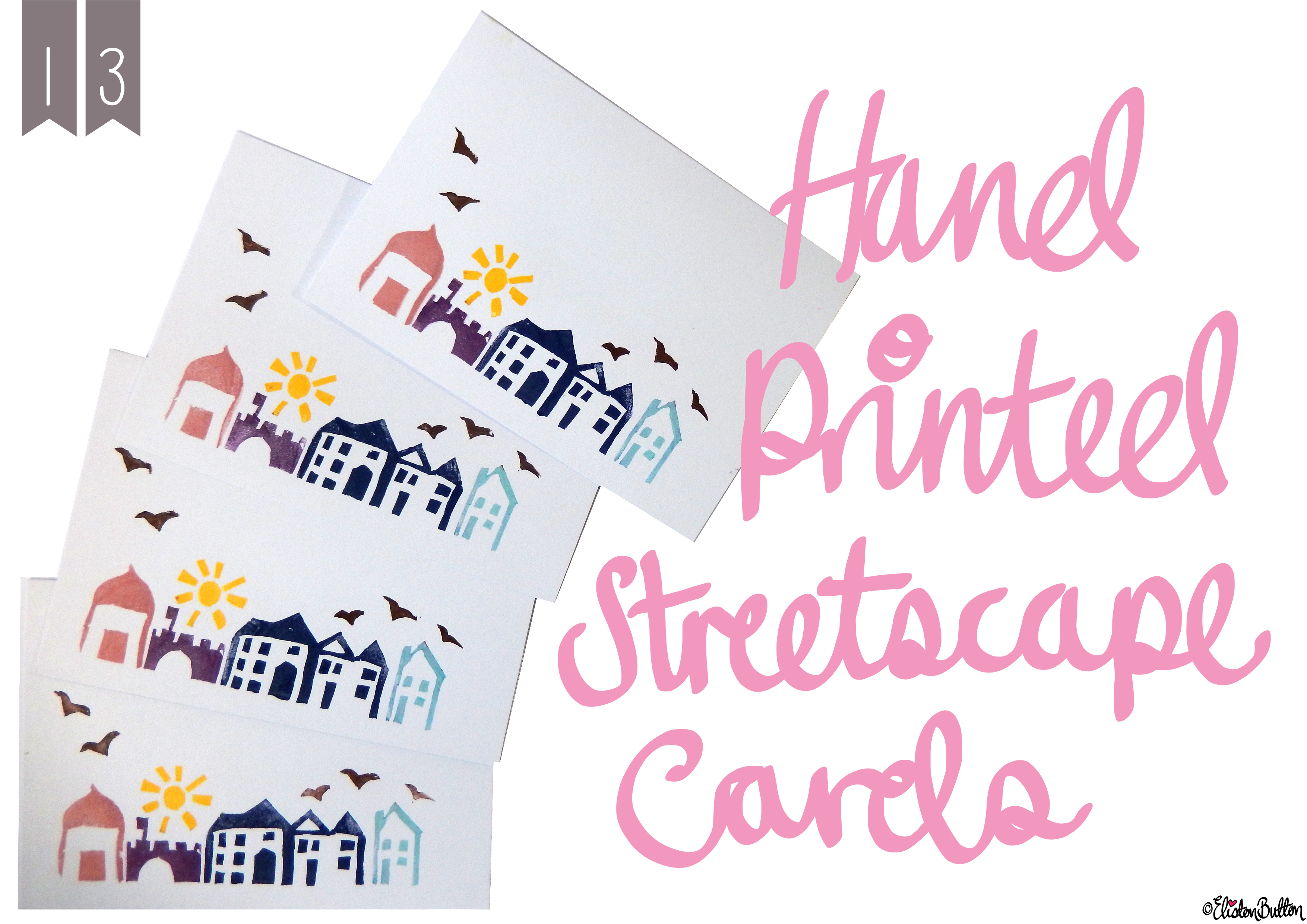 Create 28 – No. 13 – Hand Printed Streetscape Cards at www.elistonbutton.com - Eliston Button - That Crafty Kid