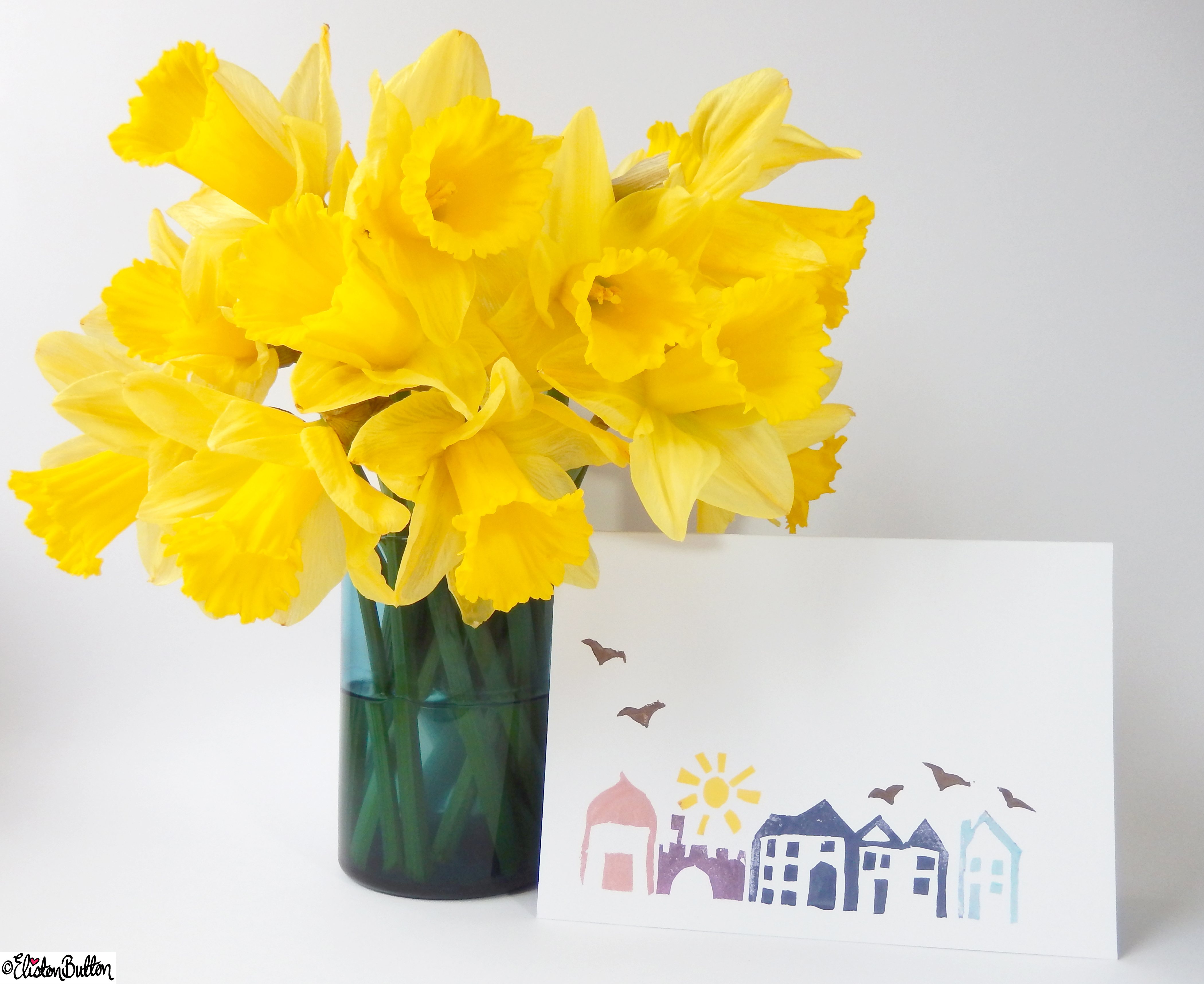 Hand Printed Streetscape Cards - Stood Up with Daffodils - Create 28 - No. 13 - Hand Printed Streetscape Cards at www.elistonbutton.com - Eliston Button - That Crafty Kid – Art, Design, Craft & Adventure.