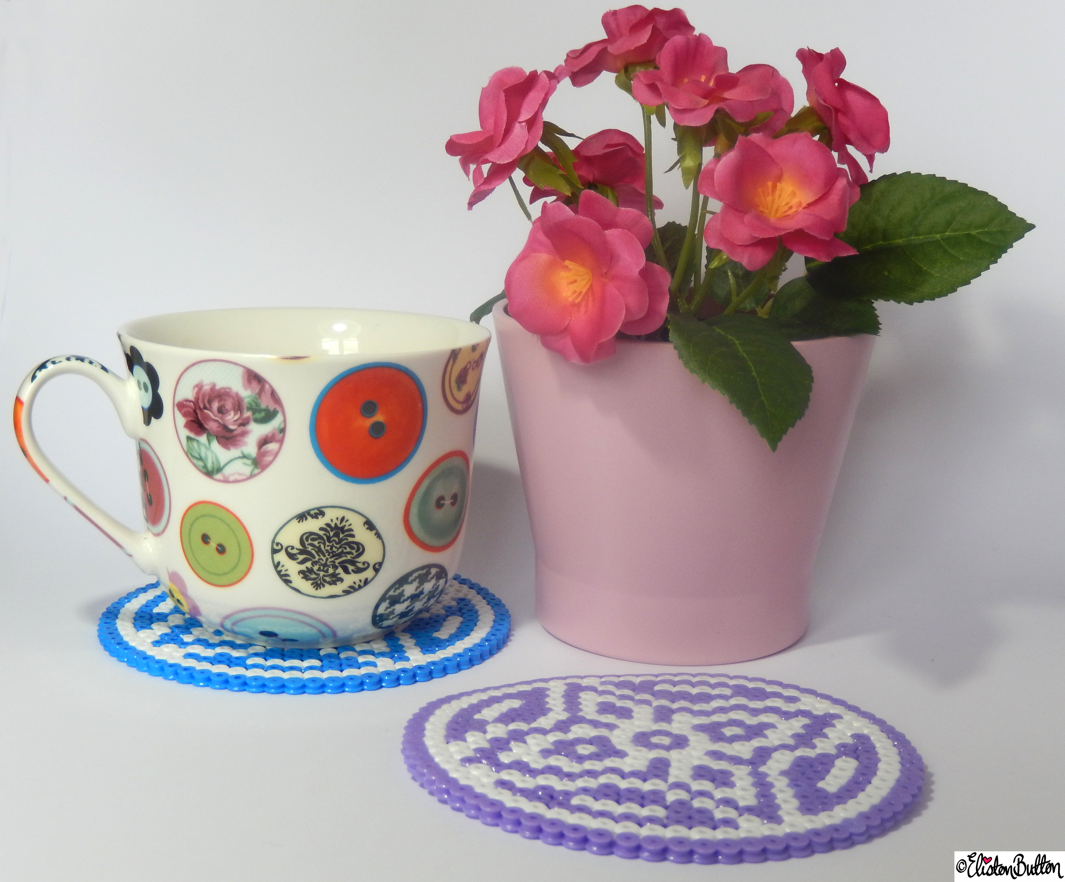 Large Picture and Hama Bead Patterned Coasters in Use with Tea Cup and Flower - Create 28 - No. 9&10 - Picture Bead Coasters at www.elistonbutton.com - Eliston Button - That Crafty Kid – Art, Design, Craft & Adventure.