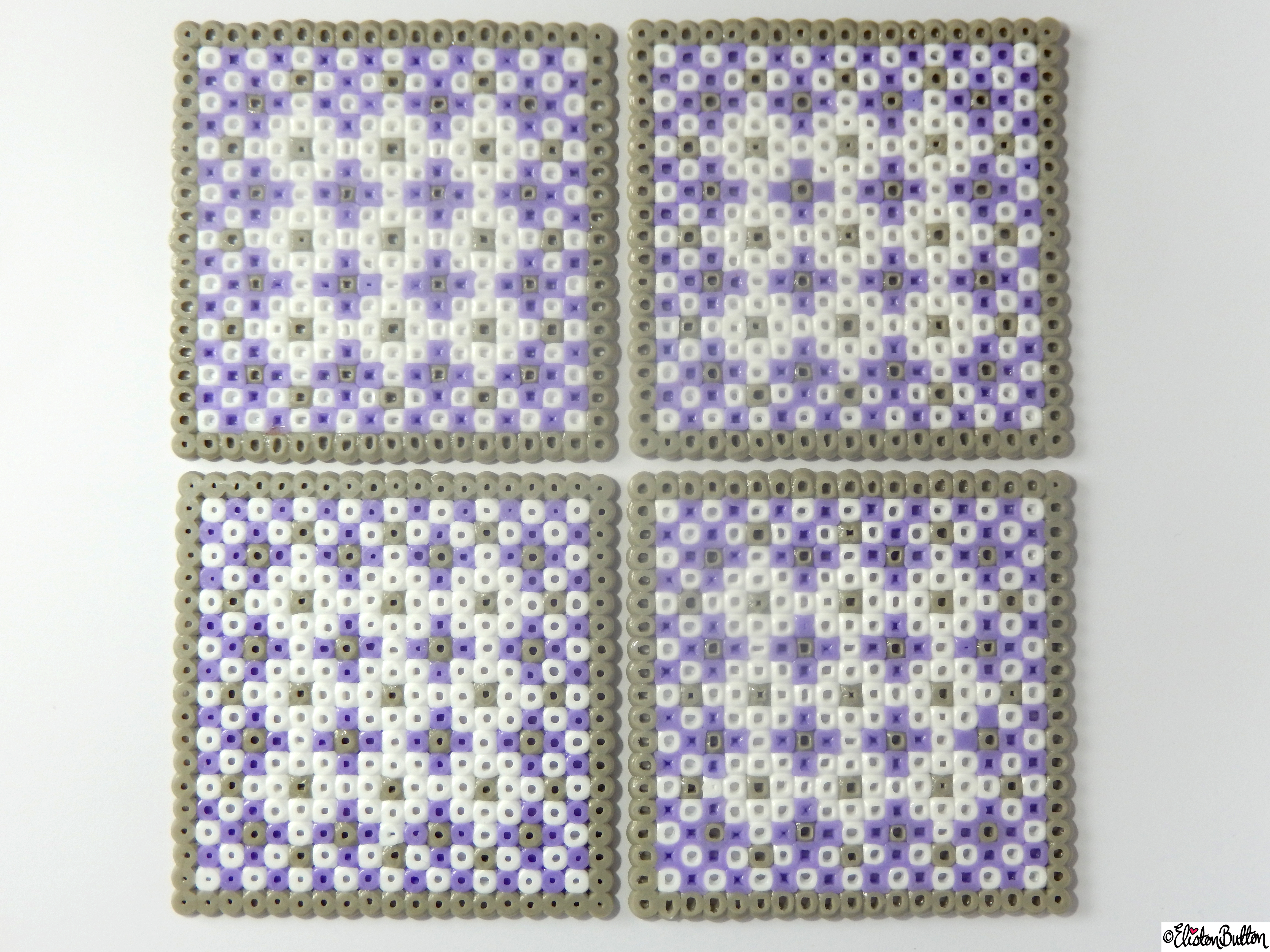 Square Picture and Hama Bead Patterned Coasters Set of Four - Create 28 - No. 9&10 - Picture Bead Coasters at www.elistonbutton.com - Eliston Button - That Crafty Kid – Art, Design, Craft & Adventure.