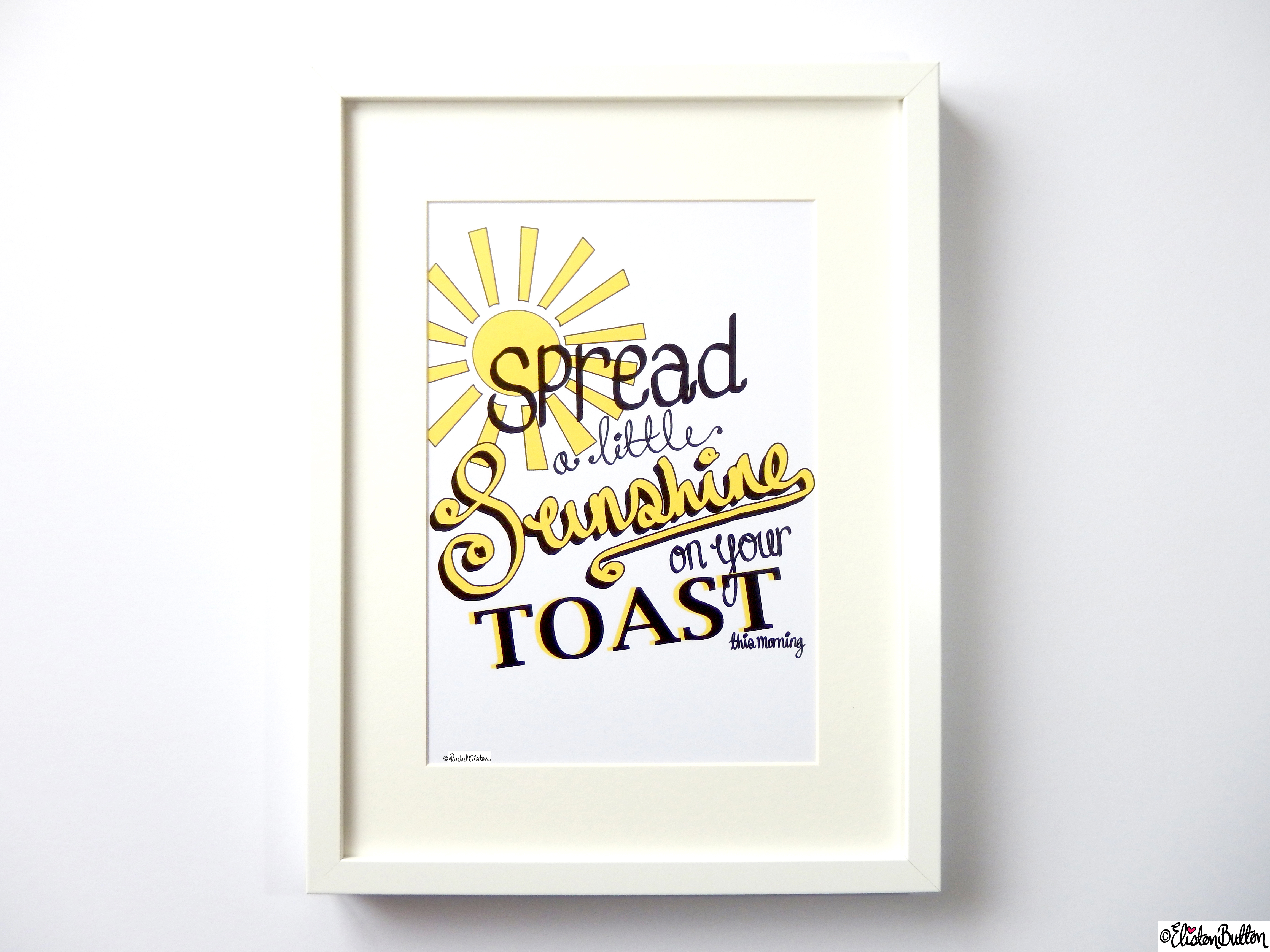 Spread a Little Sunshine Typographic Quote Illustration Wall Art Print (2) - Create 28 - No. 22 & 23 - Typographic Quote Illustrations at www.elistonbutton.com - Eliston Button - That Crafty Kid – Art, Design, Craft & Adventure.