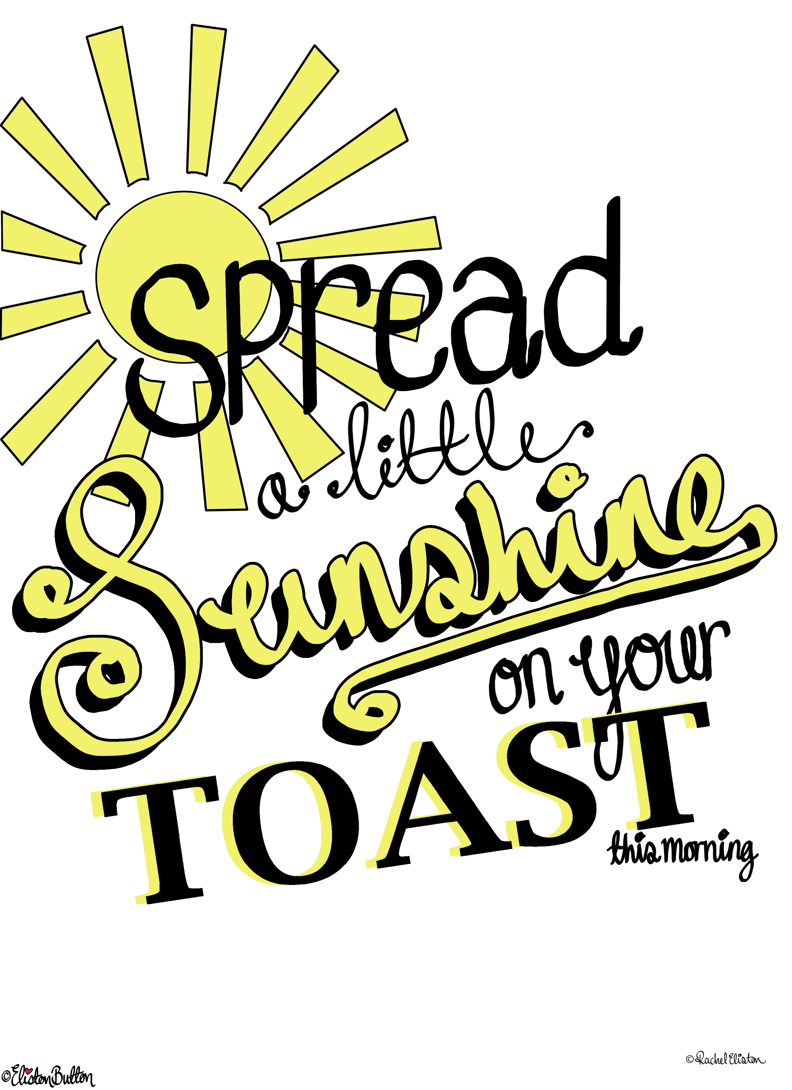 Spread a Little Sunshine Typographic Quote Illustration Wall Art Print with Written Copyright - Create 28 - No. 22 & 23 - Typographic Quote Illustrations at www.elistonbutton.com - Eliston Button - That Crafty Kid – Art, Design, Craft & Adventure.