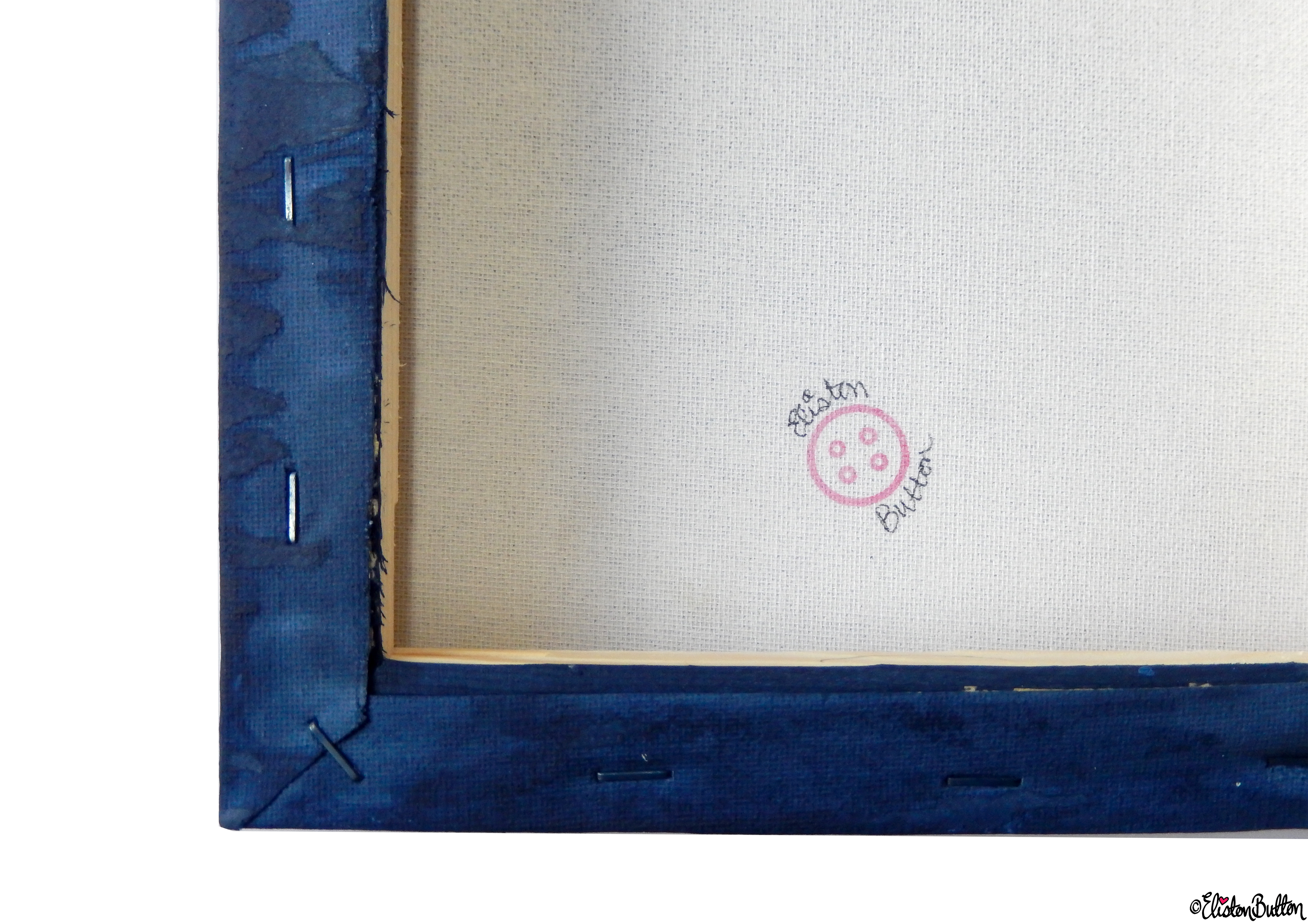 Starry Night Sky Painted Canvas - Back with Eliston Button Logo - Create 28 - No. 16, 17 & 18 - Sea and Sky Painted Canvases at www.elistonbutton.com - Eliston Button - That Crafty Kid – Art, Design, Craft & Adventure.