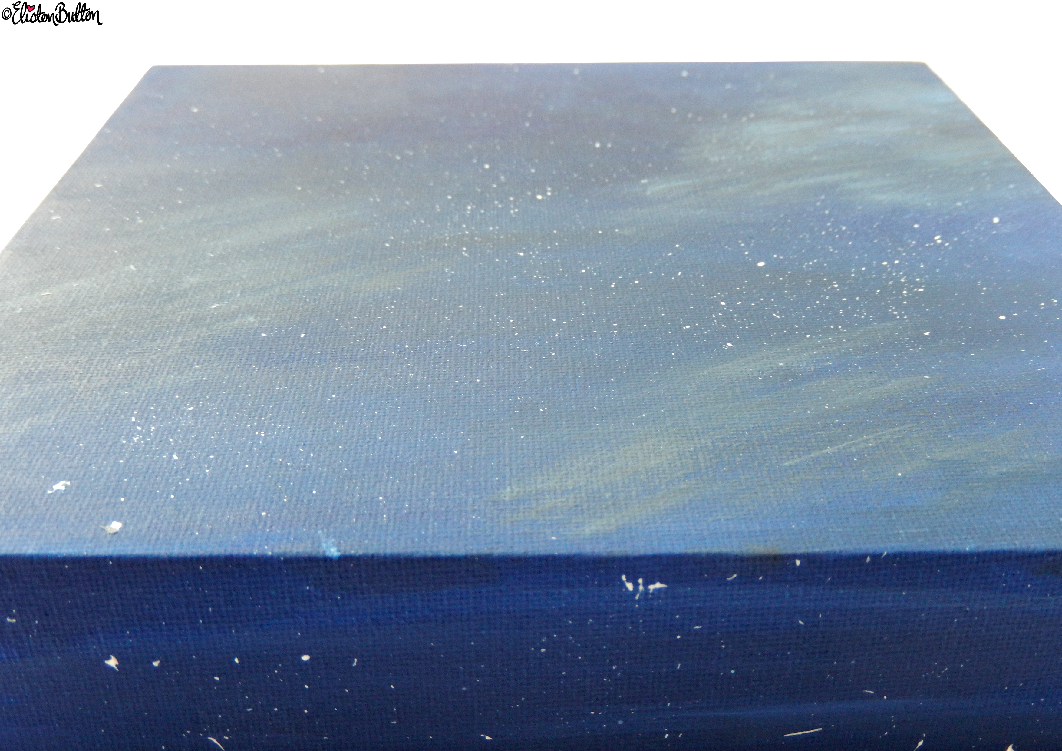 Starry Night Sky Painted Canvas - Close Up - Create 28 - No. 16, 17 & 18 - Sea and Sky Painted Canvases at www.elistonbutton.com - Eliston Button - That Crafty Kid – Art, Design, Craft & Adventure.