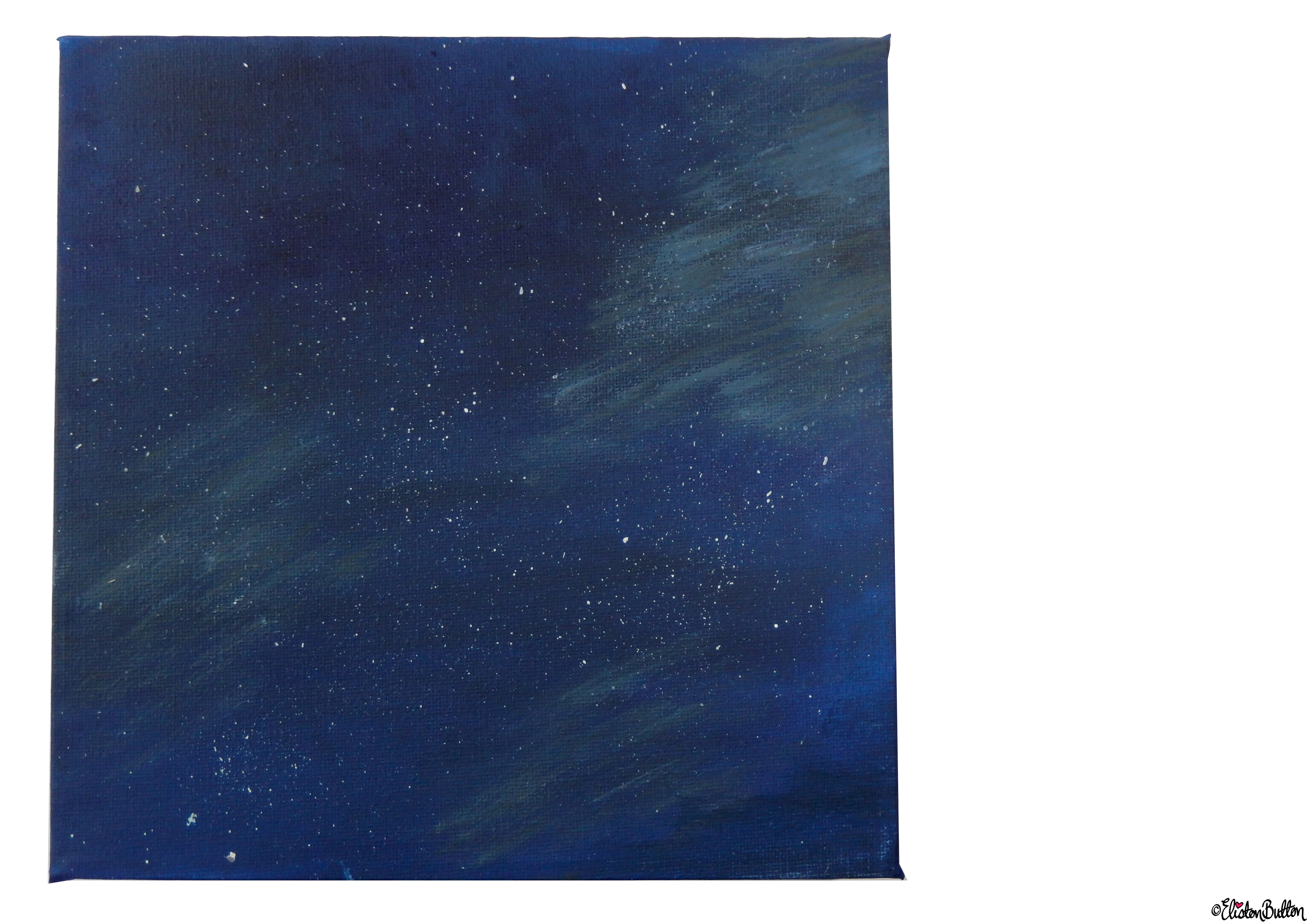 Starry Night Sky Painted Canvas - Front Full View - Create 28 - No. 16, 17 & 18 - Sea and Sky Painted Canvases at www.elistonbutton.com - Eliston Button - That Crafty Kid – Art, Design, Craft & Adventure.