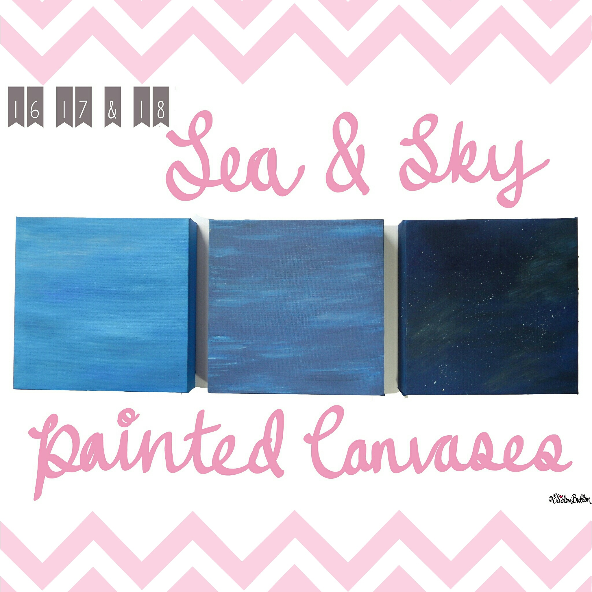 Sea and Sky Painted Canvases - Create 28 - I Did It! (a.k.a. My Therapy Session) at www.elistonbutton.com - Eliston Button - That Crafty Kid – Art, Design, Craft & Adventure.