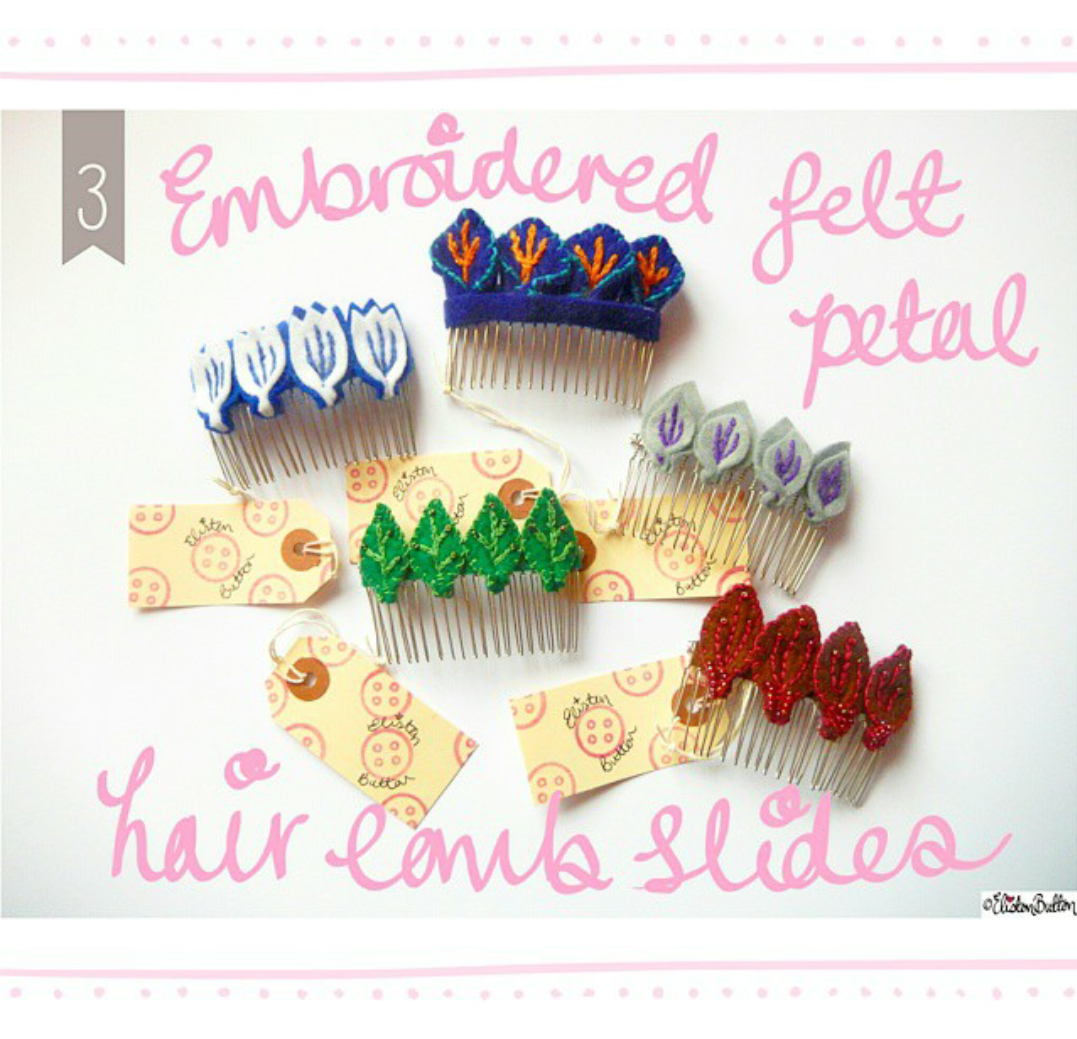 3. Embroidered Felt Petal Hair Comb Slides - Create 28 - I Did It! (a.k.a. My Therapy Session) at www.elistonbutton.com - Eliston Button - That Crafty Kid – Art, Design, Craft & Adventure.