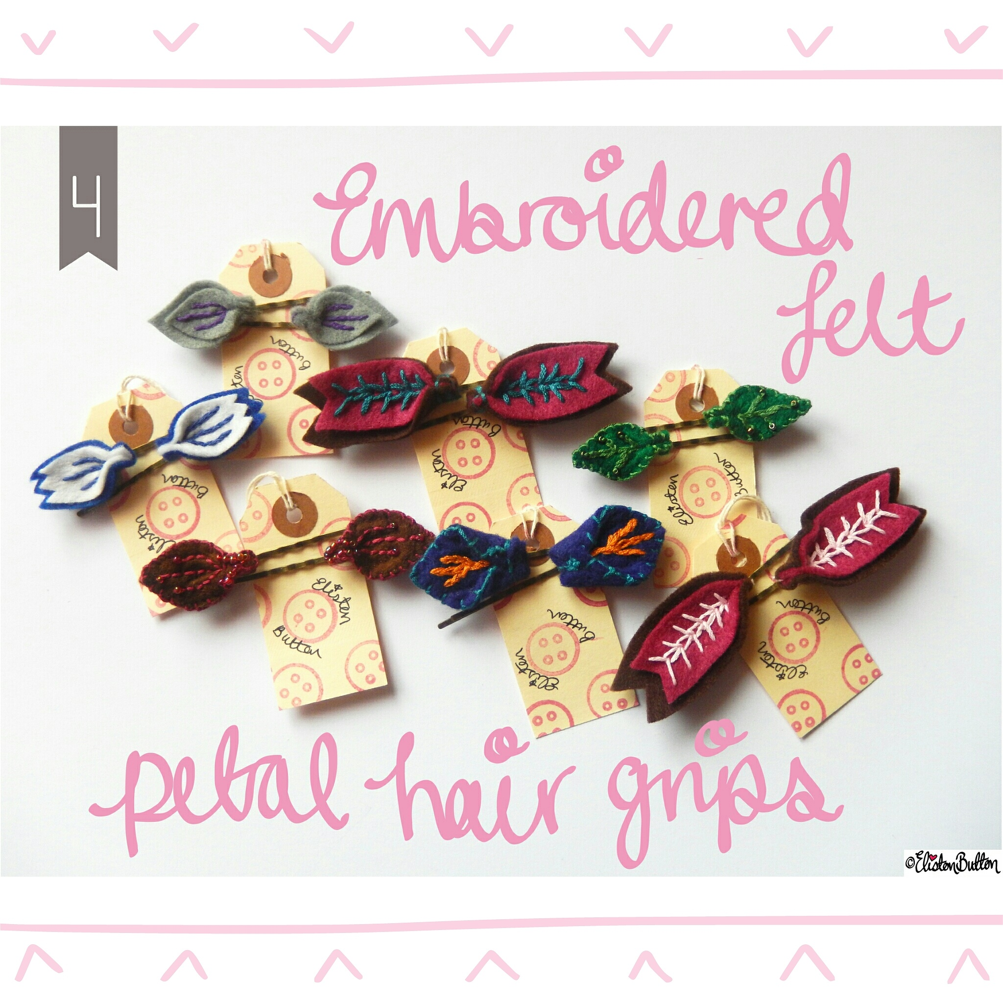 Embroidered Felt Petal Hair Grips - Create 28 - I Did It! (a.k.a. My Therapy Session) at www.elistonbutton.com - Eliston Button - That Crafty Kid – Art, Design, Craft & Adventure.