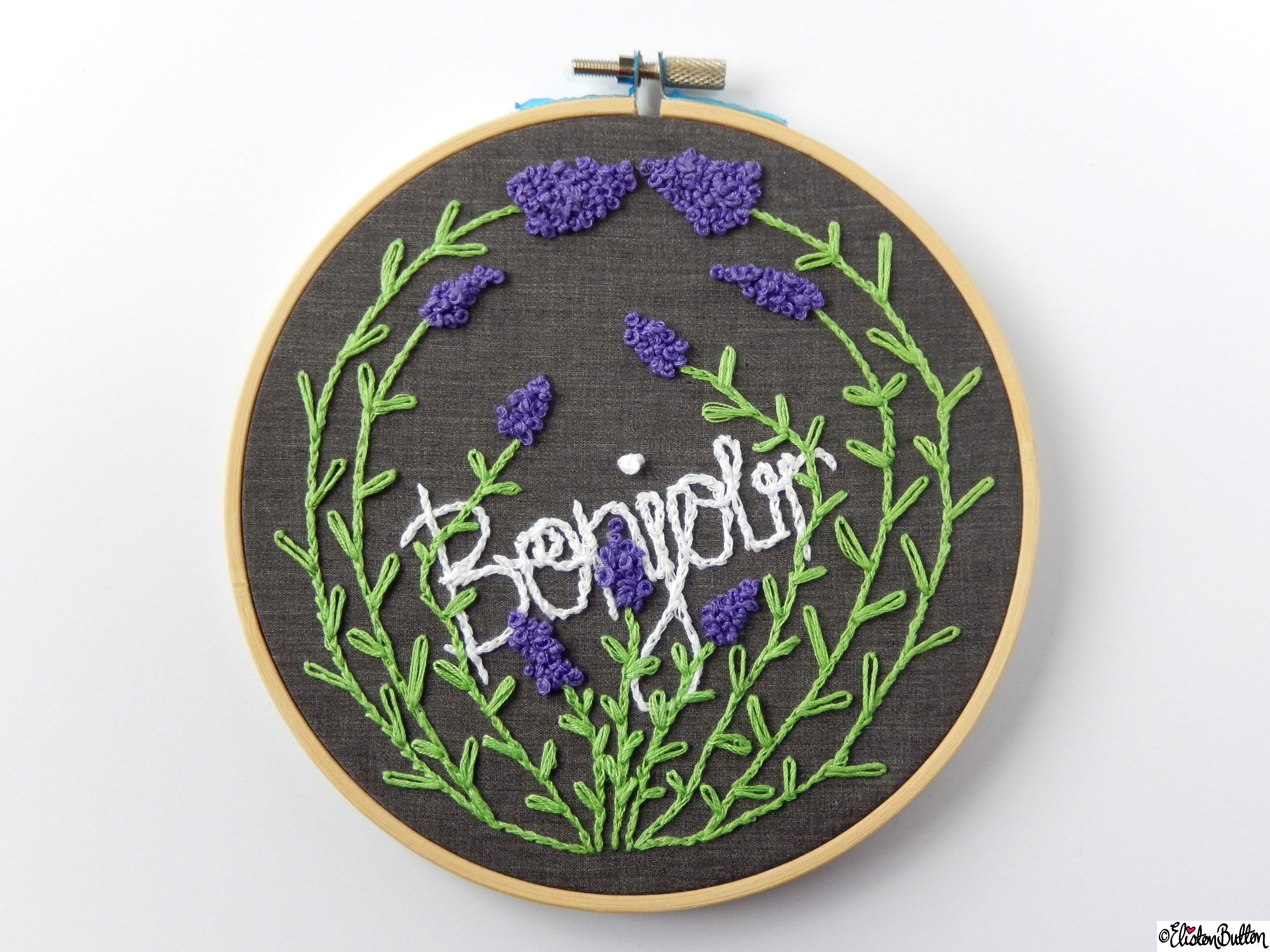 Bonjour French Inspired Embroidery Hoop Wall Art  (2) - Create 28 - No.28 - Embroidery Hoop Wall Art at www.elistonbutton.com - Eliston Button - That Crafty Kid – Art, Design, Craft & Adventure.