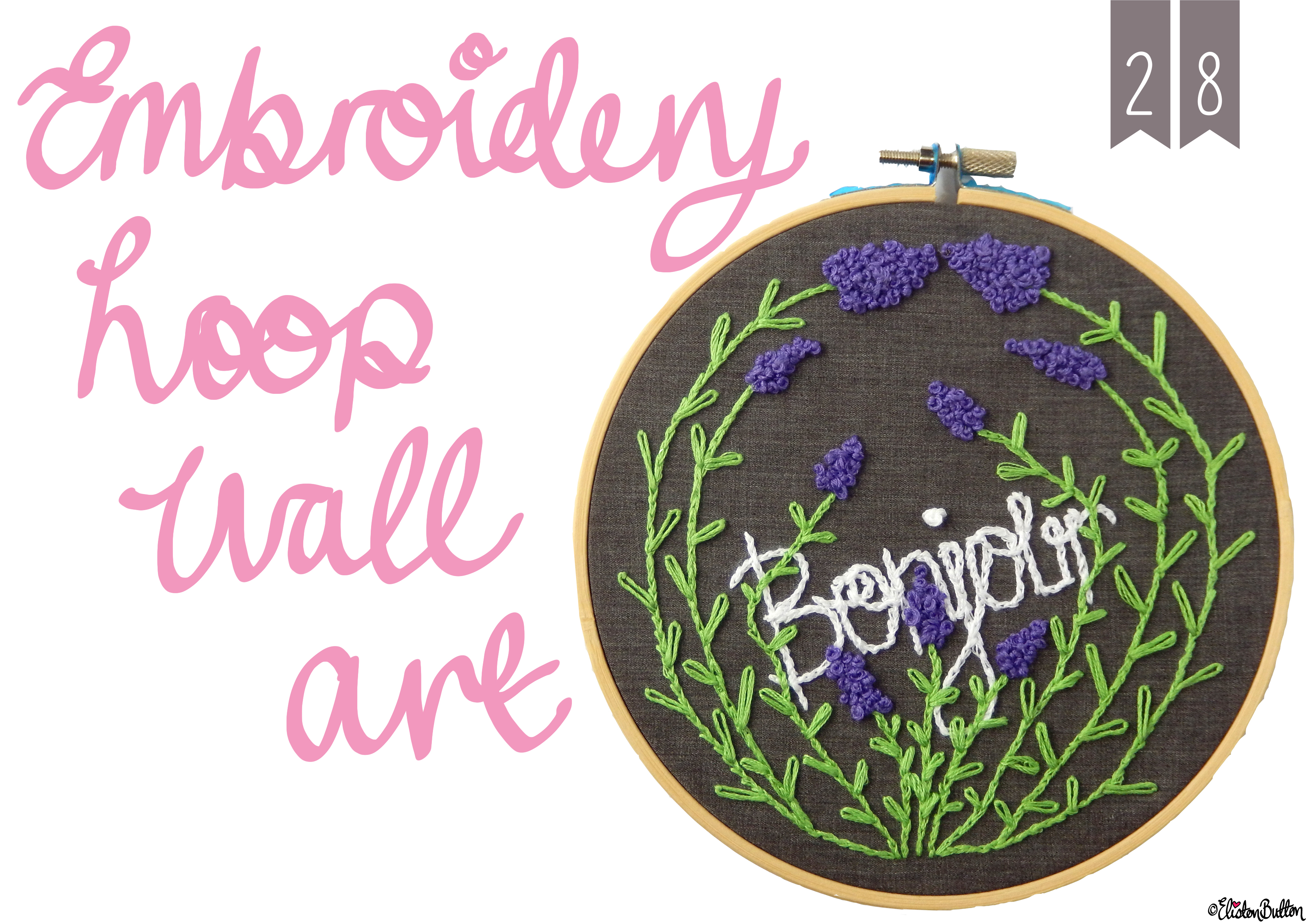 Embroidery Hoop Wall Art - Create 28 - No.28 - Embroidery Hoop Wall Art at www.elistonbutton.com - Eliston Button - That Crafty Kid – Art, Design, Craft & Adventure.