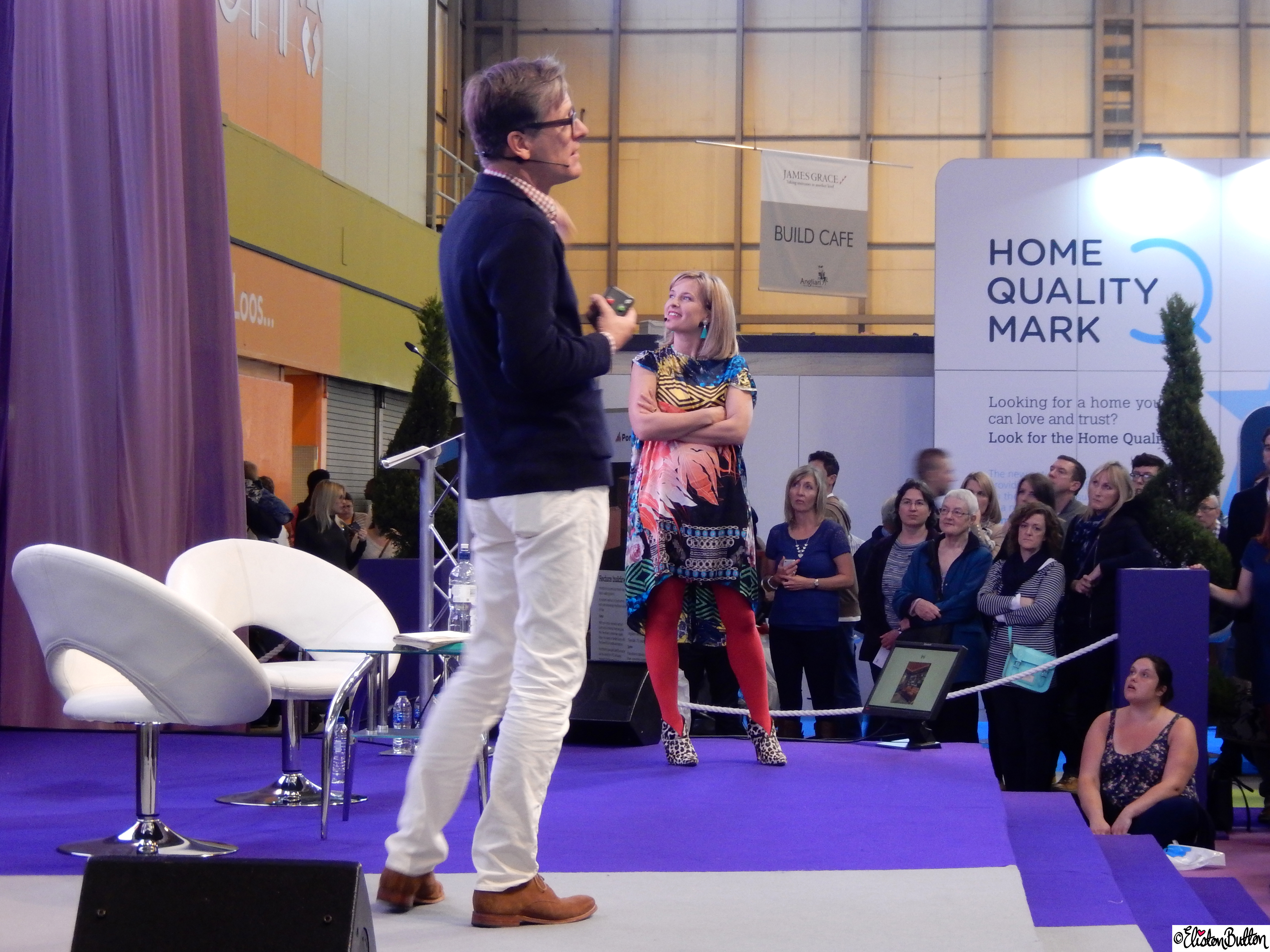 Dan Hopwood and Sophie Robinson from The Great Interior Design Challenge talking about Luxury for Less at Grand Designs Live - Grand Designs Live 2015 - Part One at www.elistonbutton.com - Eliston Button - That Crafty Kid – Art, Design, Craft & Adventure.