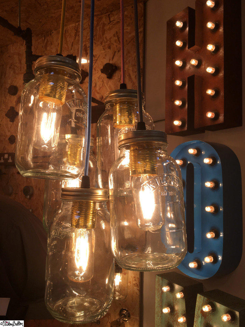Mason Jam Jar Lights at Grand Designs Live - Grand Designs Live 2015 - Part One at www.elistonbutton.com - Eliston Button - That Crafty Kid – Art, Design, Craft & Adventure.