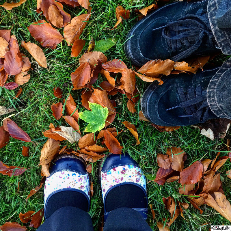 Just Us Two - Shoes in the Autumn Leaves - Around Here...October 2015 at www.elistonbutton.com - Eliston Button - That Crafty Kid – Art, Design, Craft & Adventure.