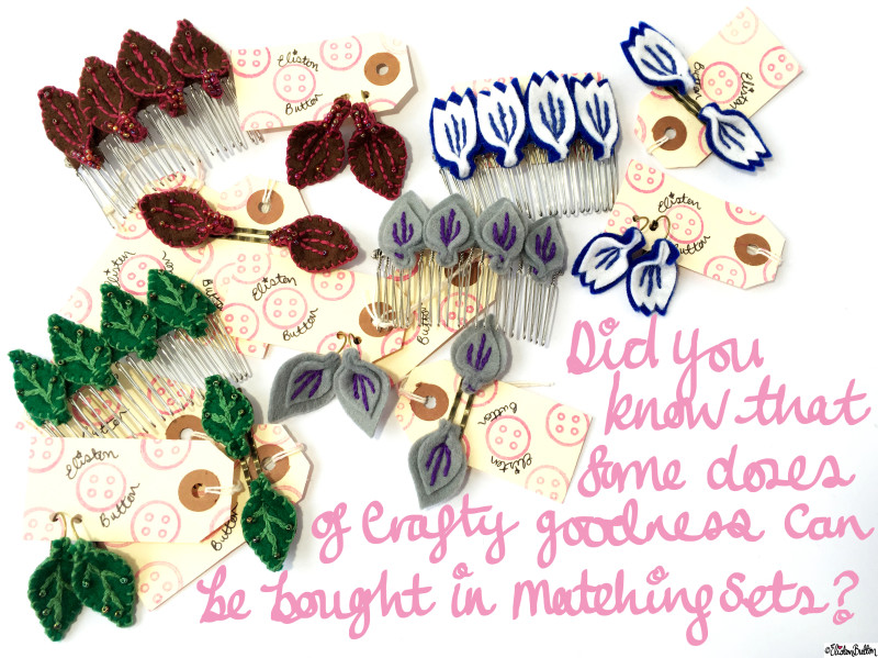Embroidered Felt Petal Accessories in Matching Sets by Eliston Button on Etsy - It's Beginning to Look a Lot Like Christmas (and Last Christmas Postage Dates) at www.elistonbutton.com - Eliston Button - That Crafty Kid – Art, Design, Craft & Adventure.