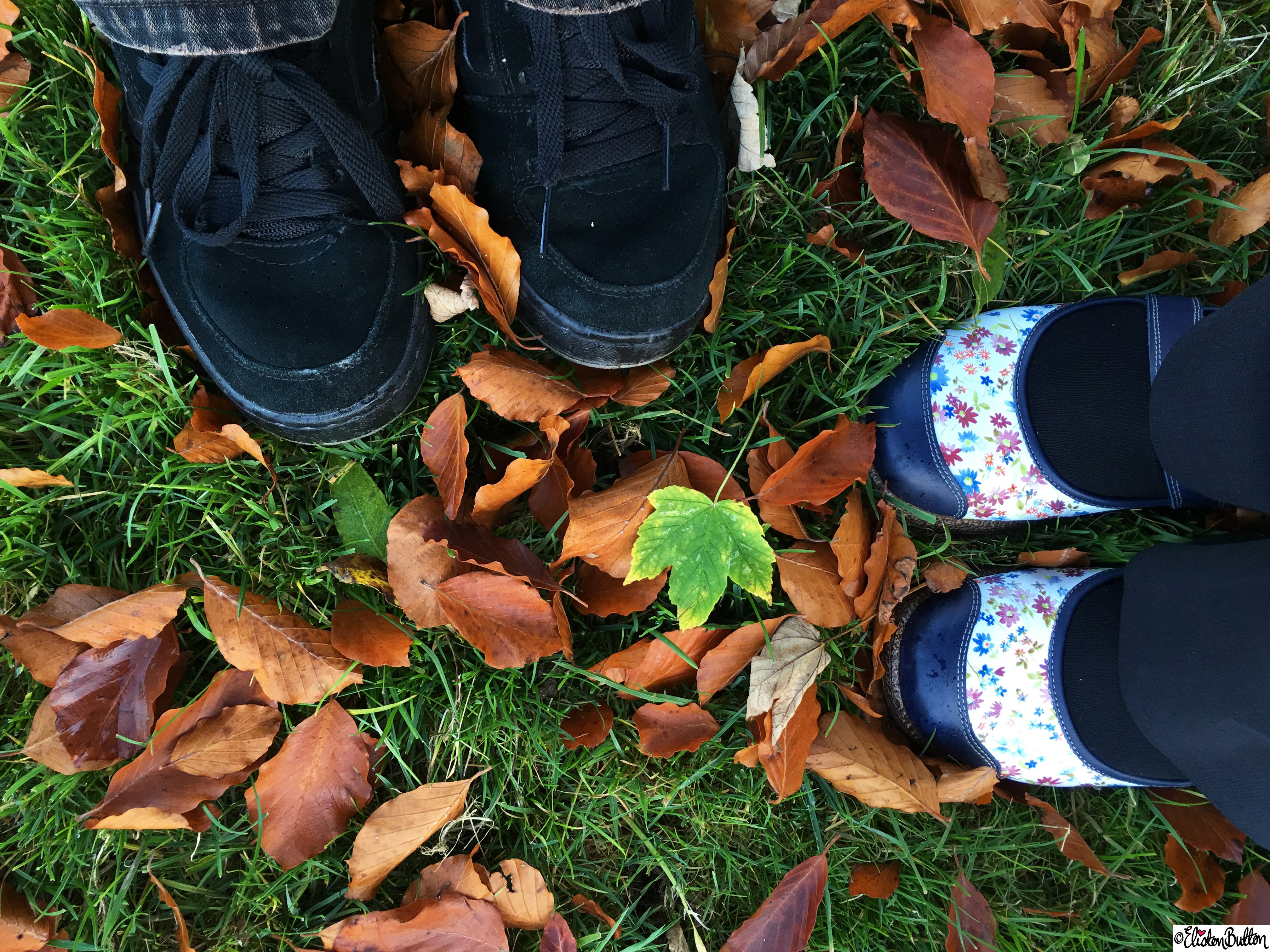 Feet together in the Autumn Leaves  at Dovers Hill, Cotswolds, UK - An Autumn Adventure at www.elistonbutton.com - Eliston Button - That Crafty Kid – Art, Design, Craft & Adventure.