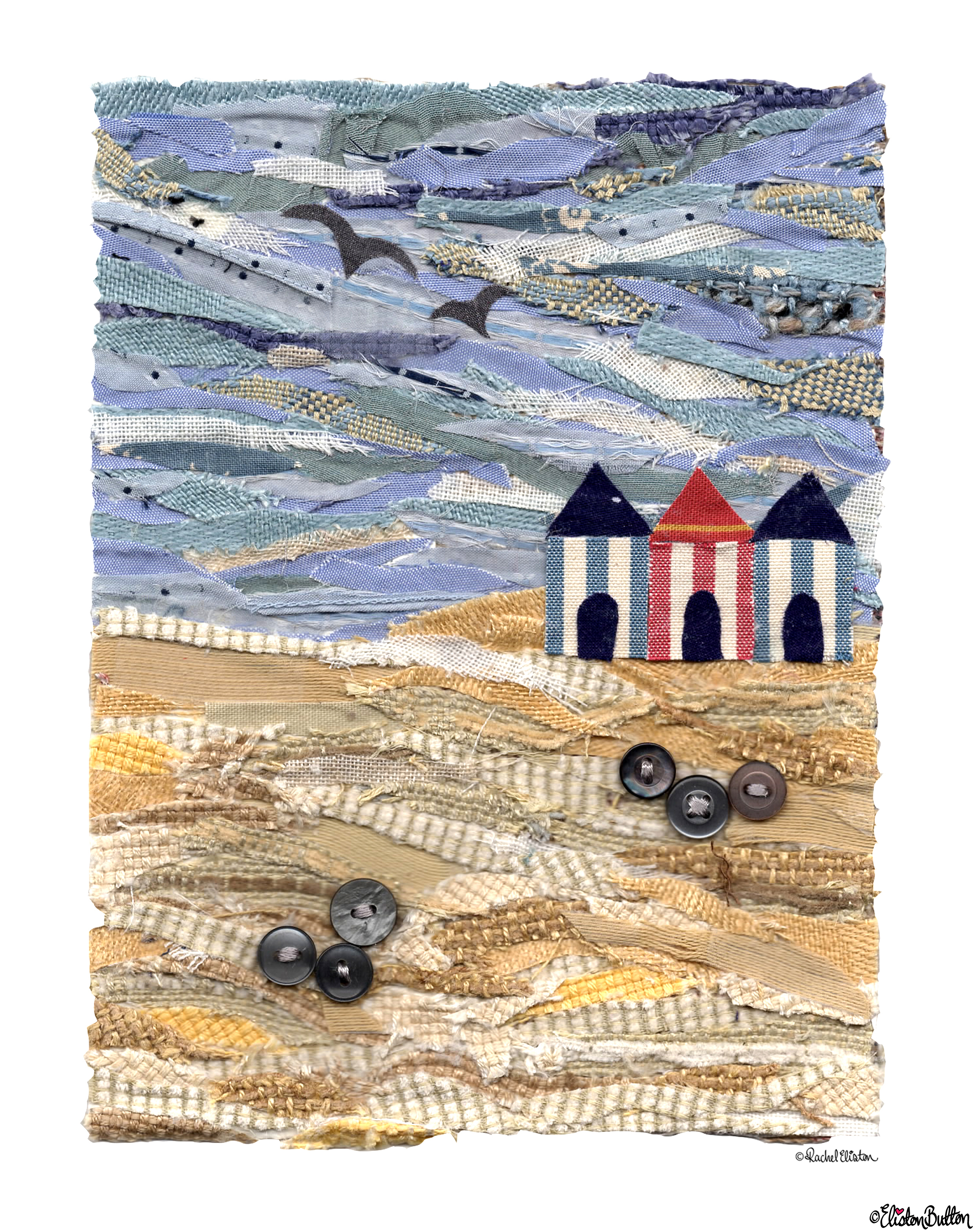 Final Beach Hut Fabric Collage with Copyright - Beach Huts Fabric Collage Art Print at www.elistonbutton.com - Eliston Button - That Crafty Kid – Art, Design, Craft & Adventure.