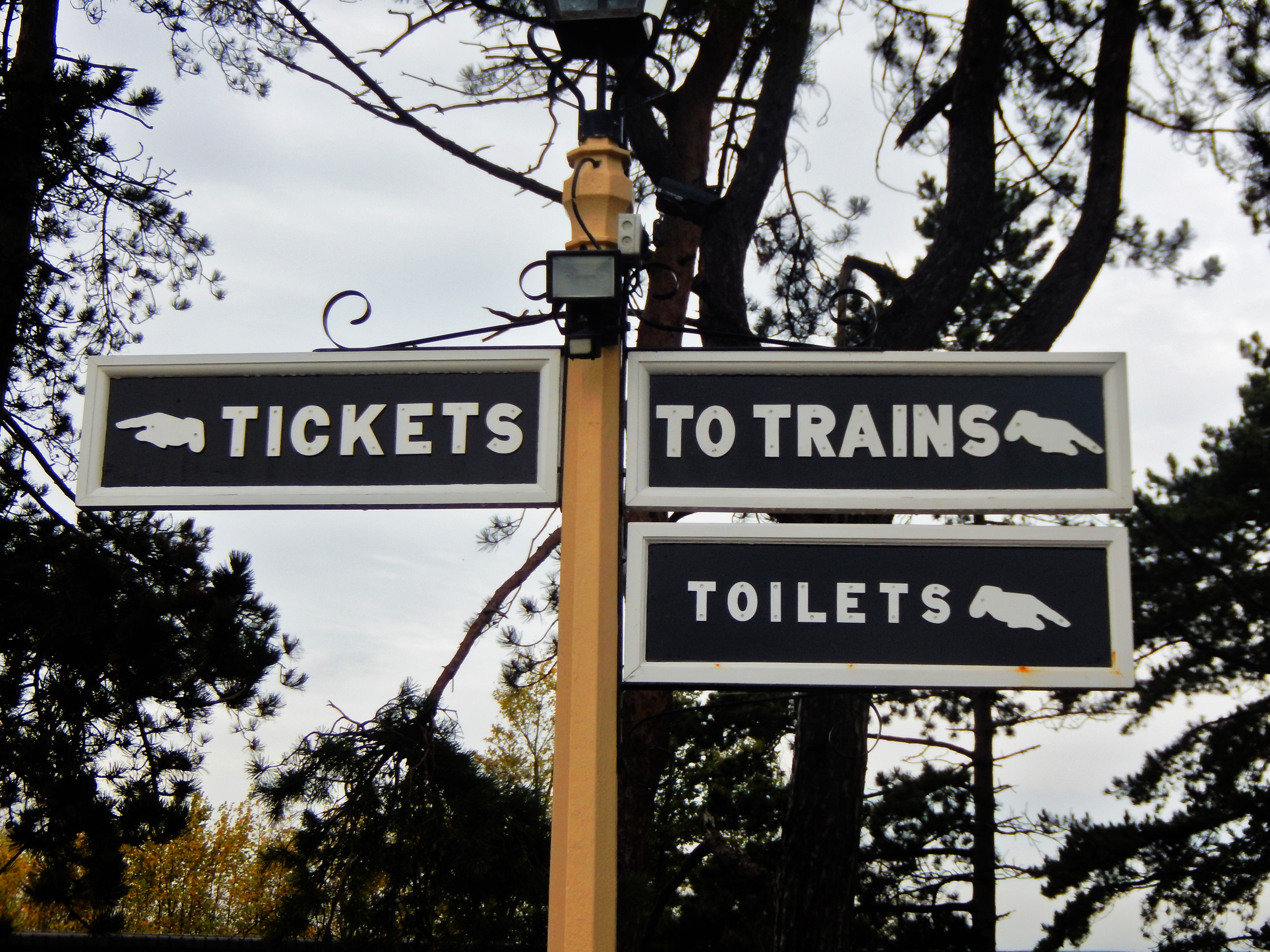 Gloucestershire Warwickshire Steam Railway - Signpost - This Steam Train Stops at Hogwarts...Right!?