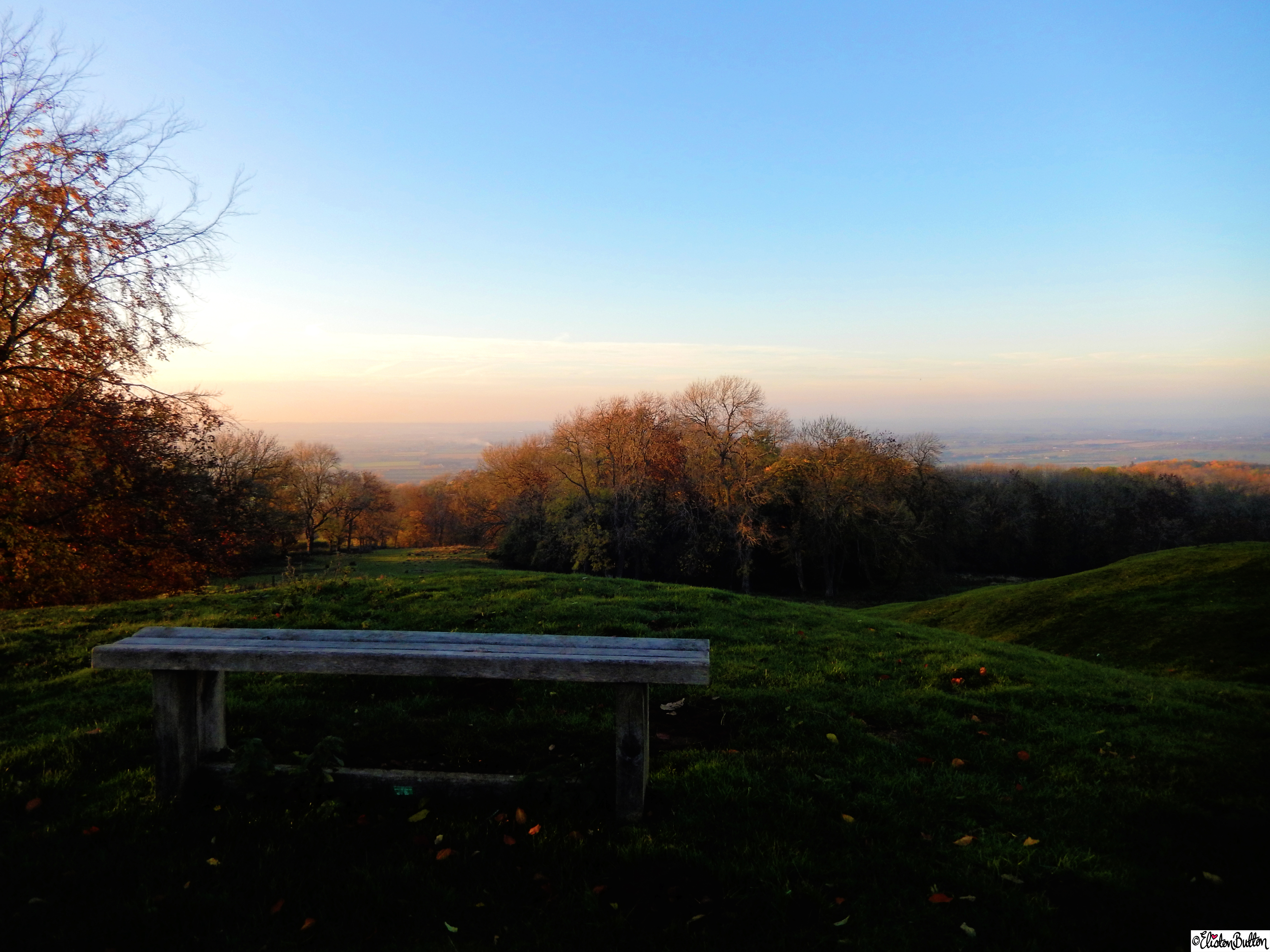 Sit with Me a While - Bench overlooking Autumn over Vale of Evesham at  at Dovers Hill, Cotswolds, UK - An Autumn Adventure at www.elistonbutton.com - Eliston Button - That Crafty Kid – Art, Design, Craft & Adventure.