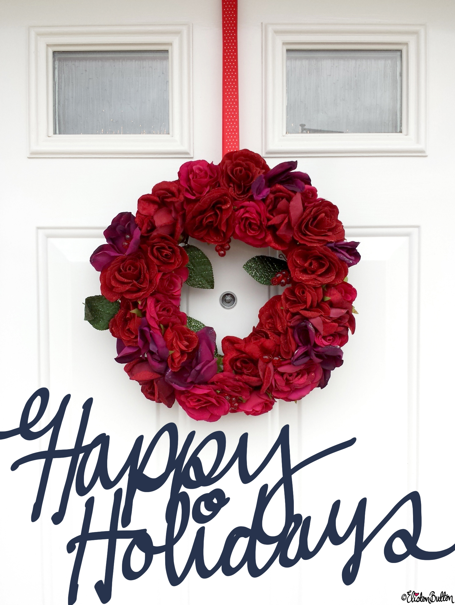 Happy Holidays Hand Lettering and Rose Floral Christmas Wreath - What a Year! (Merry Christmas & Happy Holidays!)