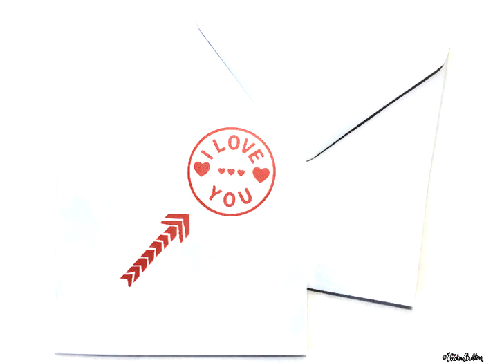 Simple Red and White I Love You, Hearts and Arrow Hand Stamped Square Card and Envelope - Love is on the Cards! at www.elistonbutton.com - Eliston Button - That Crafty Kid – Art, Design, Craft & Adventure.