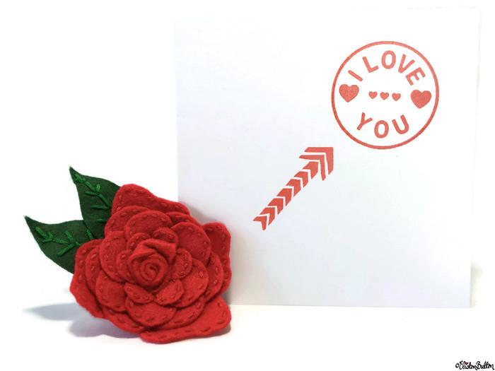 Simple Red and White I Love You, Hearts and Arrow Hand Stamped Square Card with Red Felt Flower Brooch by Eliston Button - Love is on the Cards! at www.elistonbutton.com - Eliston Button - That Crafty Kid – Art, Design, Craft & Adventure.