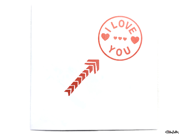 Simple Red and White I Love You, Hearts and Arrow Hand Stamped Square Card - Love is on the Cards! at www.elistonbutton.com - Eliston Button - That Crafty Kid – Art, Design, Craft & Adventure.