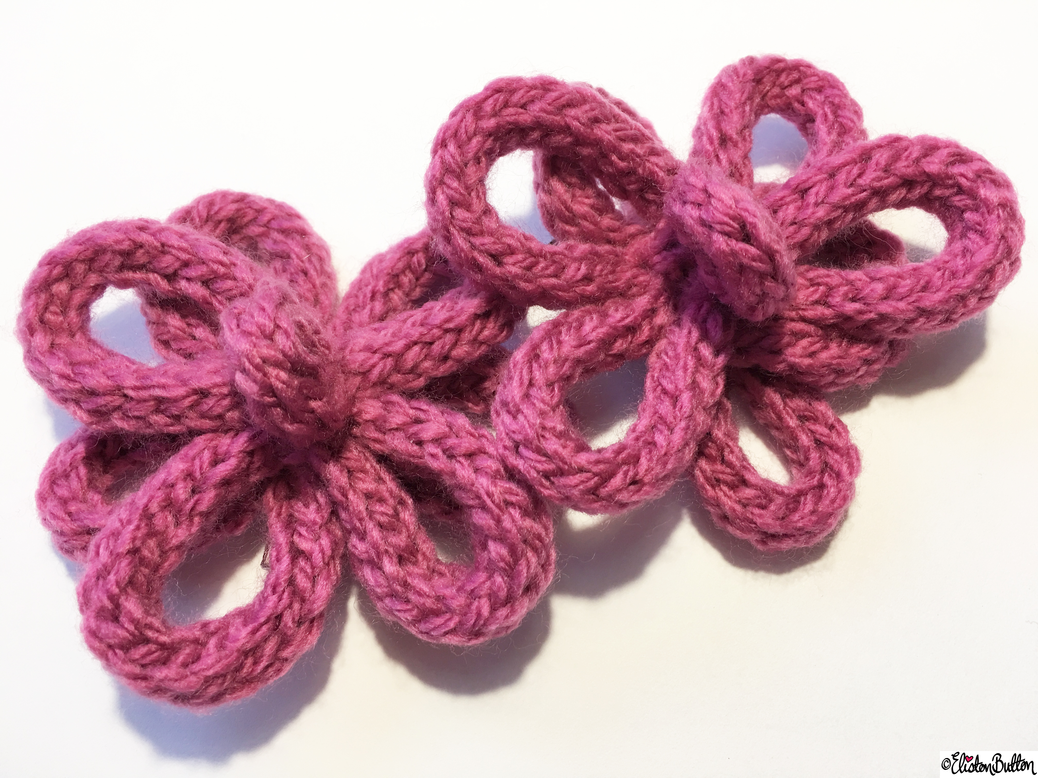Two Handmade Rasperry Pink French Knitted Flower Hair Grips - Custom Orders and Creative Imagination at www.elistonbutton.com - Eliston Button - That Crafty Kid – Art, Design, Craft & Adventure.
