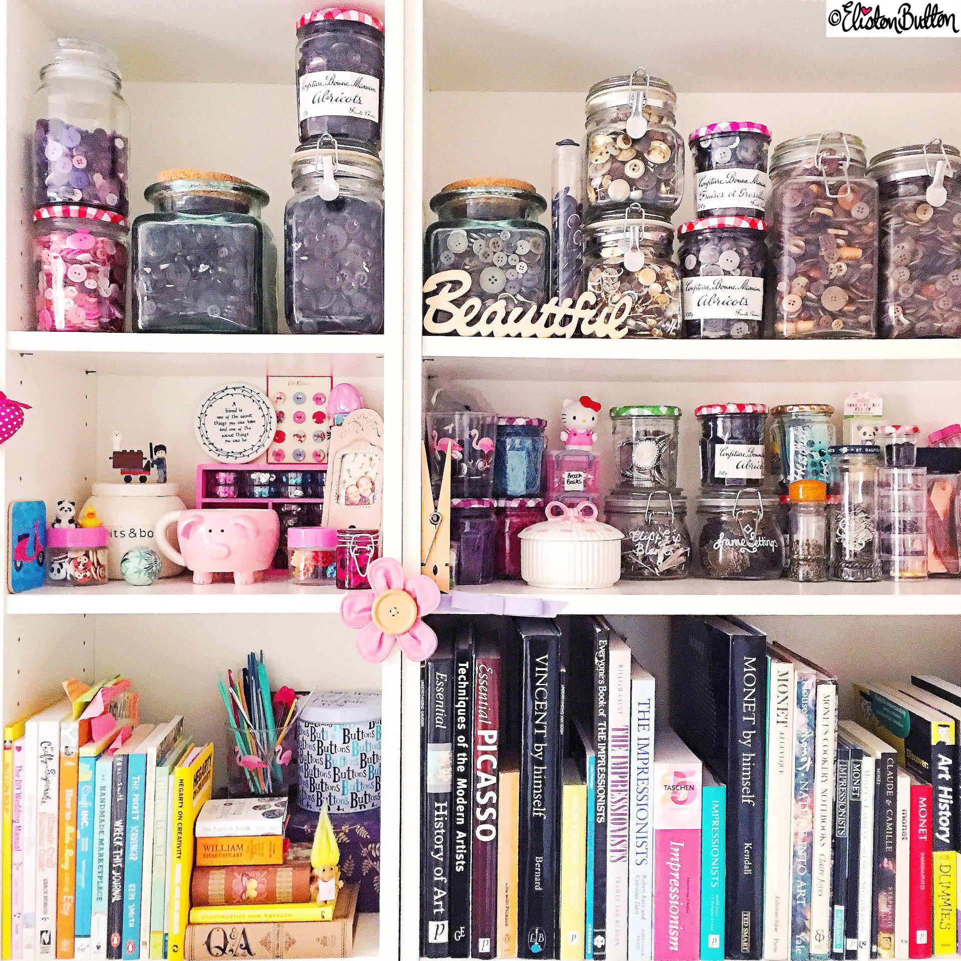 Day 03 - Art - Craft Studio Art Bookshelves and Jars of Beads and Buttons - Photo-a-Day – March 2016 at www.elistonbutton.com - Eliston Button - That Crafty Kid – Art, Design, Craft & Adventure.