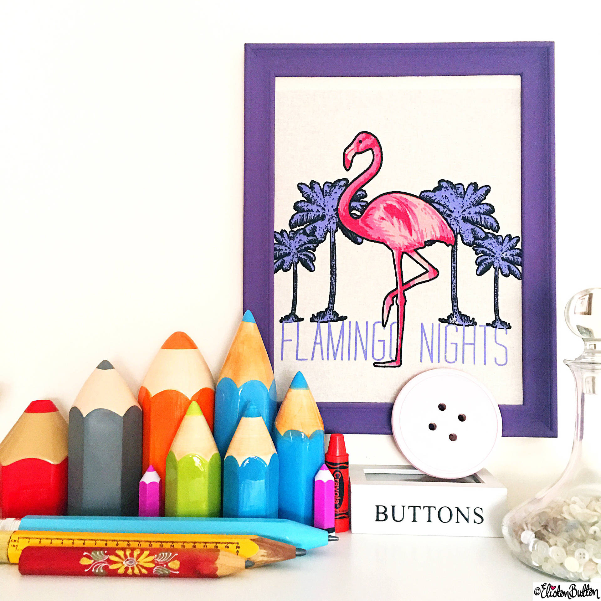 Day 10 - Collection - Flamingo Wall Art and Giant Ceramic Pencil Collection - Photo-a-Day – March 2016 at www.elistonbutton.com - Eliston Button - That Crafty Kid – Art, Design, Craft & Adventure.