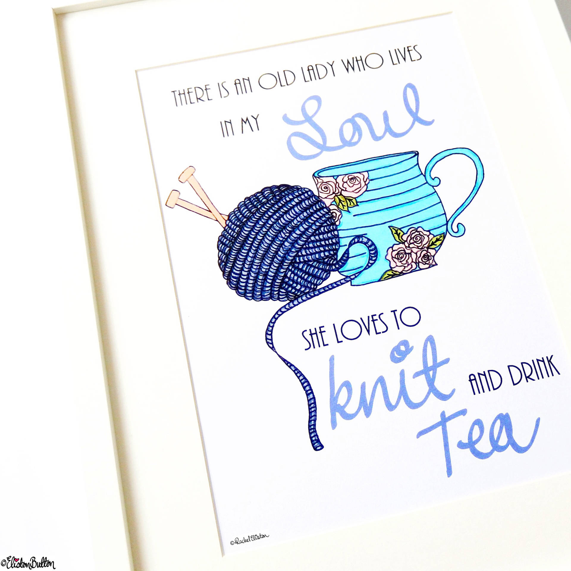 Day 13 - This is Funny - Knit and Drink Tea Typographic Quote Print - Photo-a-Day – March 2016 at www.elistonbutton.com - Eliston Button - That Crafty Kid – Art, Design, Craft & Adventure.