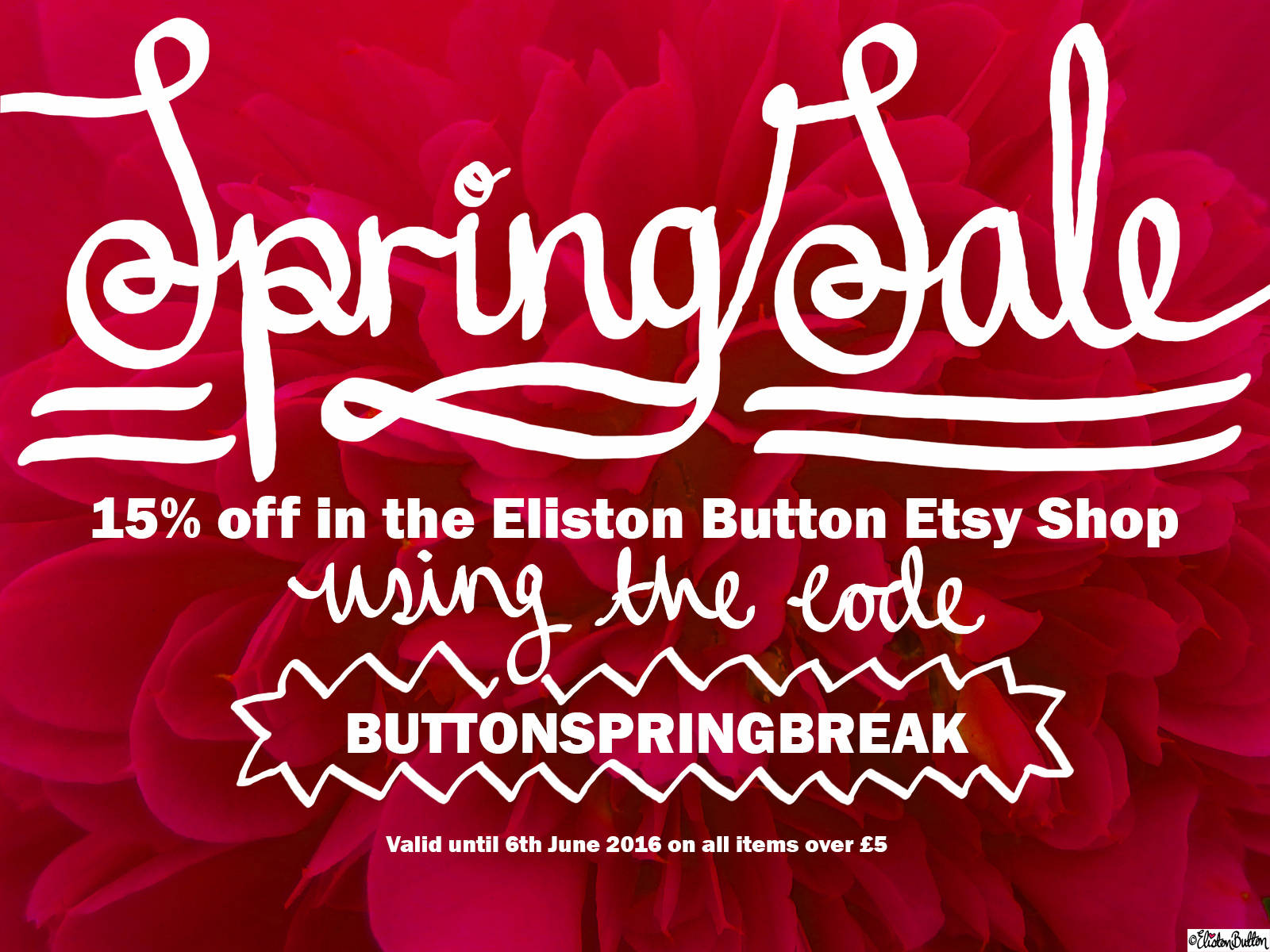 Eliston Button Etsy Shop Spring Sale Promotion - 15% off over £5 until 6th June 2016! - Spring Break Unplugged (Plus a Special Treat!) at www.elistonbutton.com - Eliston Button - That Crafty Kid – Art, Design, Craft & Adventure.
