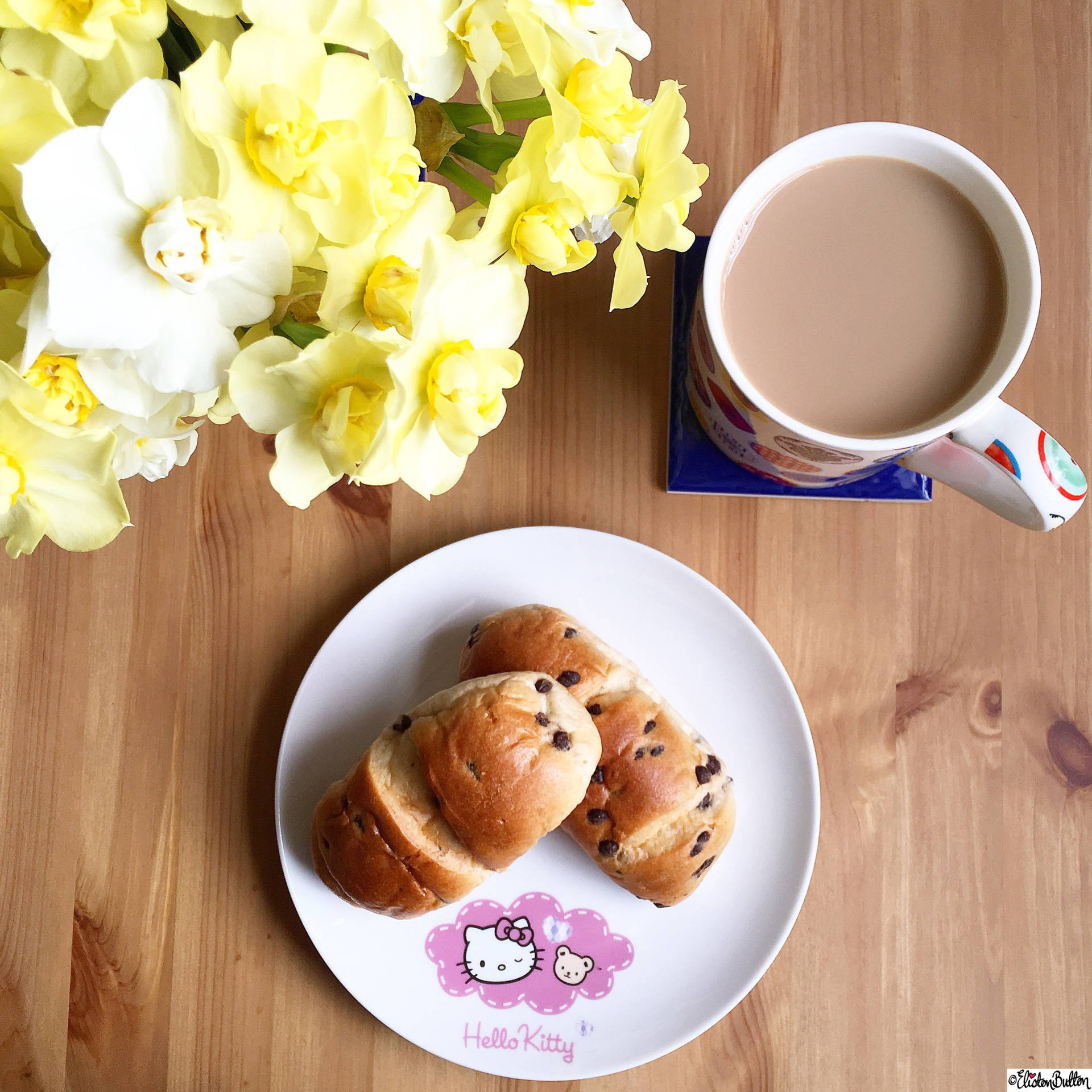 Day 24 - My Fave Food - Chocolate Chip Brioche, Coffee and Daffodils - Photo-a-Day – April 2016 at www.elistonbutton.com - Eliston Button - That Crafty Kid – Art, Design, Craft & Adventure.