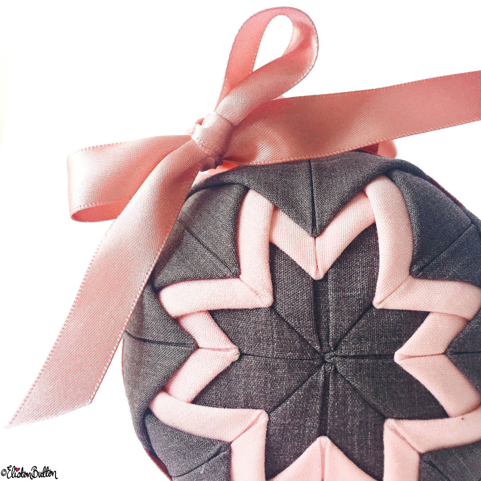 Day 23 - Made by Me - Quilted Slate Grey and Pastel Pink Ball Decoration by Elisotn Button on Etsy - Photo-a-Day – May 2016 at www.elistonbutton.com - Eliston Button - That Crafty Kid – Art, Design, Craft & Adventure.