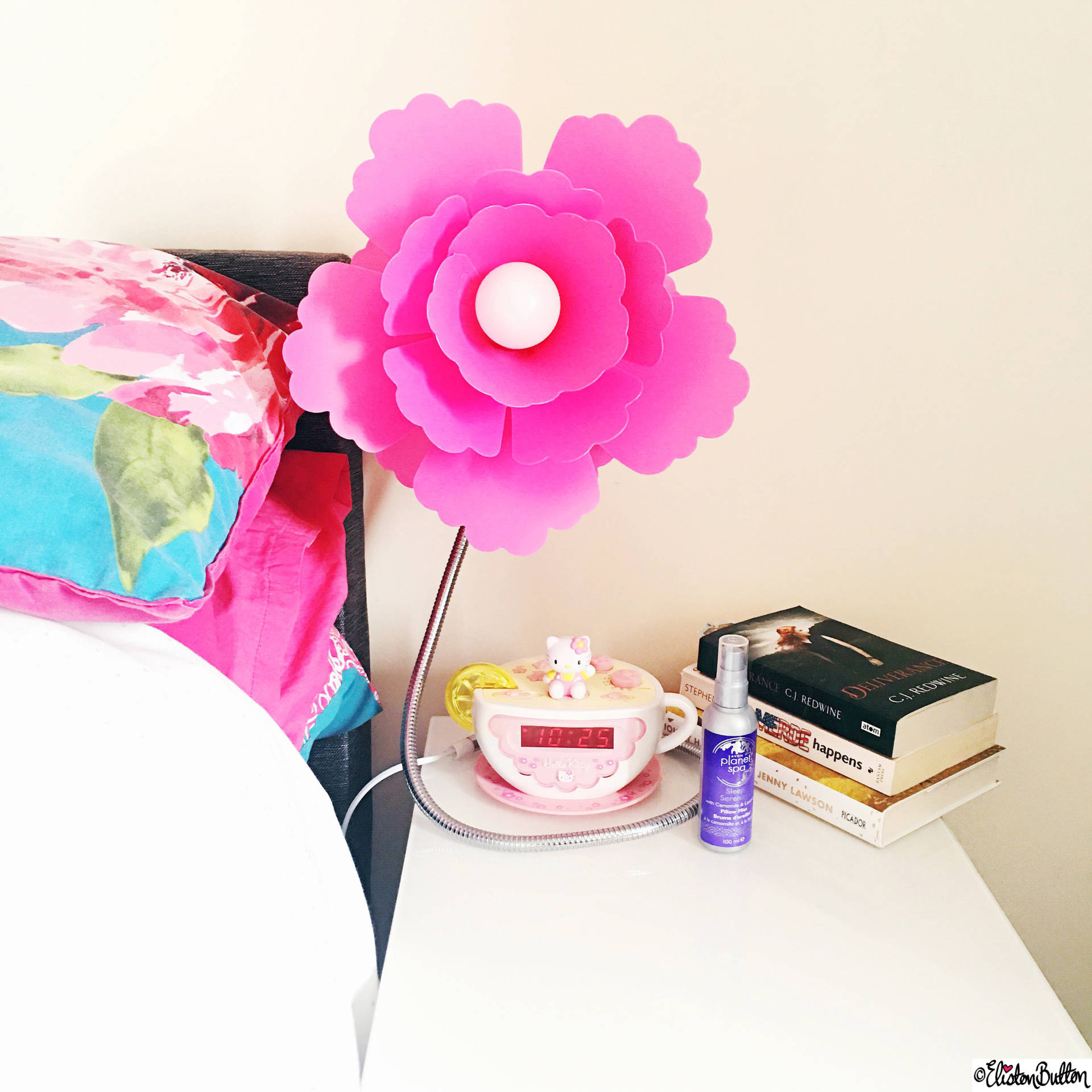 Day 28 - View From Bed - Pink Flower Lamp, Books and Hello Kitty Alarm Clock - Photo-a-Day – May 2016 at www.elistonbutton.com - Eliston Button - That Crafty Kid – Art, Design, Craft & Adventure.