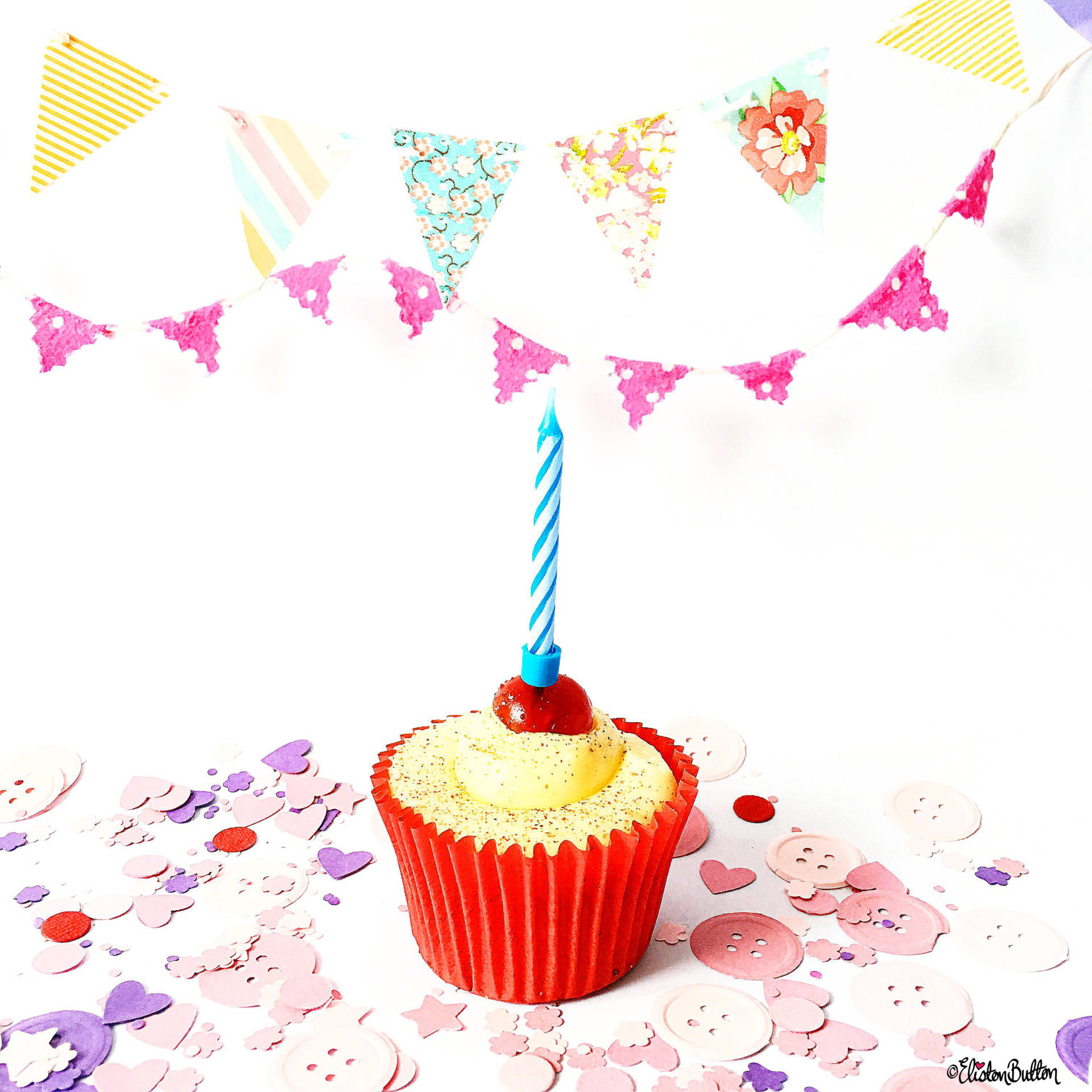 Day 11 - Me Time - Mr Kipling Birthday Cupcake, Bunting and Confetti - Photo-a-Day – June 2016 at www.elistonbutton.com - Eliston Button - That Crafty Kid – Art, Design, Craft & Adventure.