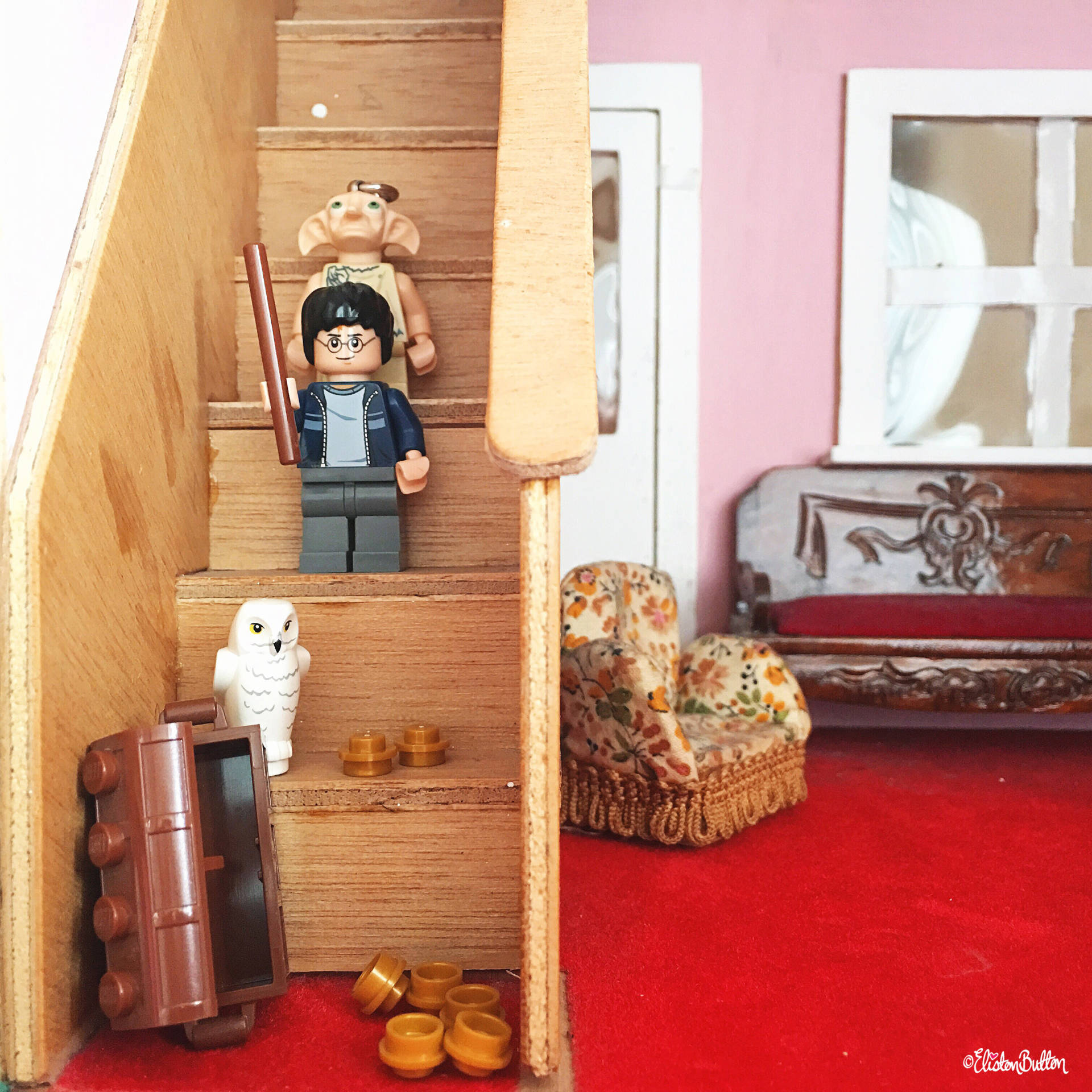Day 12 - Stairs - Harry Potter, Hedwig and Dobby Lego Minifigures in a Dolls House - Photo-a-Day – June 2016 at www.elistonbutton.com - Eliston Button - That Crafty Kid – Art, Design, Craft & Adventure.