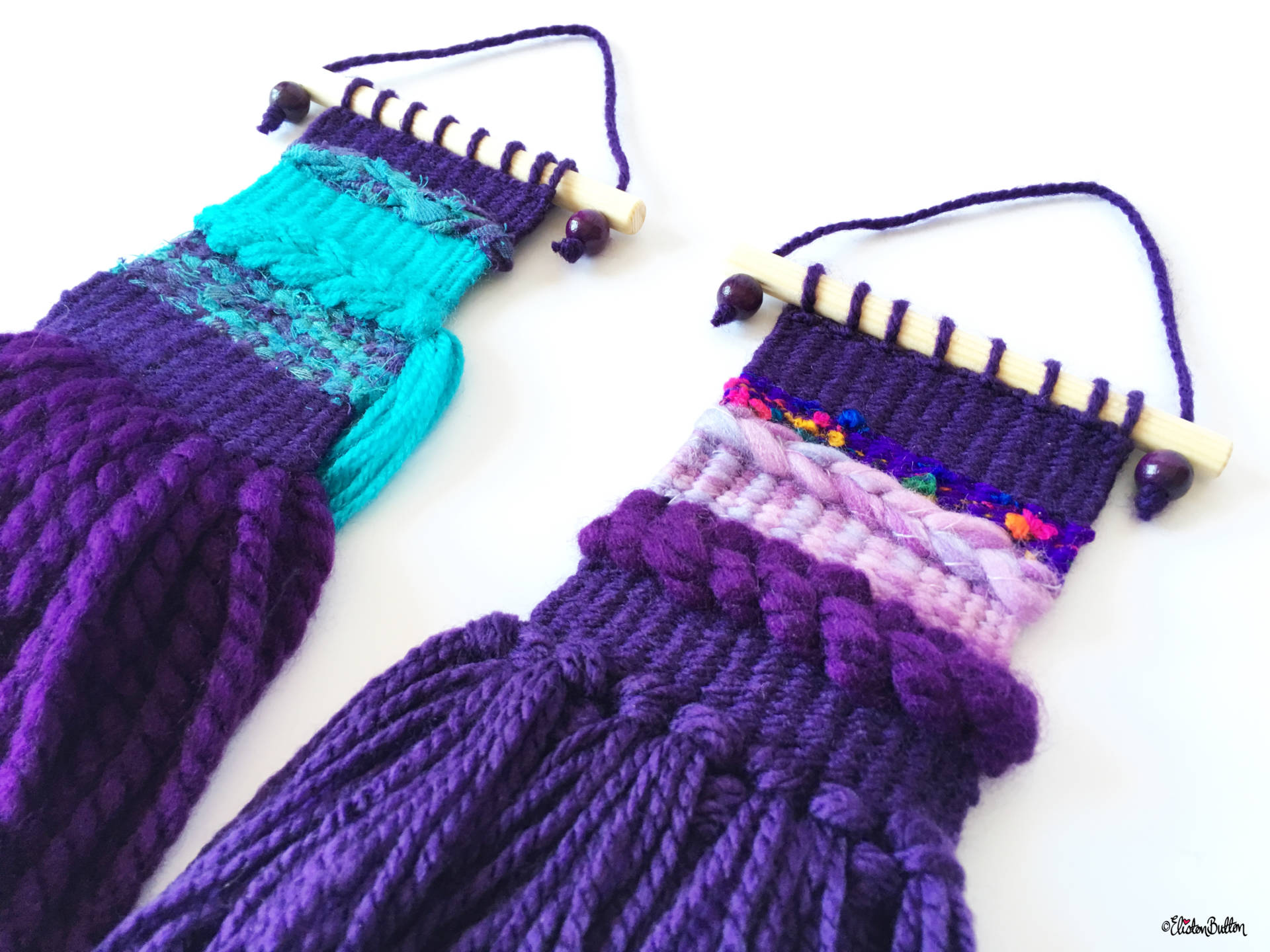 Create 30 - No. 2 - Purple Mini Woven Wall Hangings by Eliston Button Side View - Create 30 - No.2 - Mini Woven Wall Hangings at www.elistonbutton.com - Eliston Button - That Crafty Kid – Art, Design, Craft & Adventure.