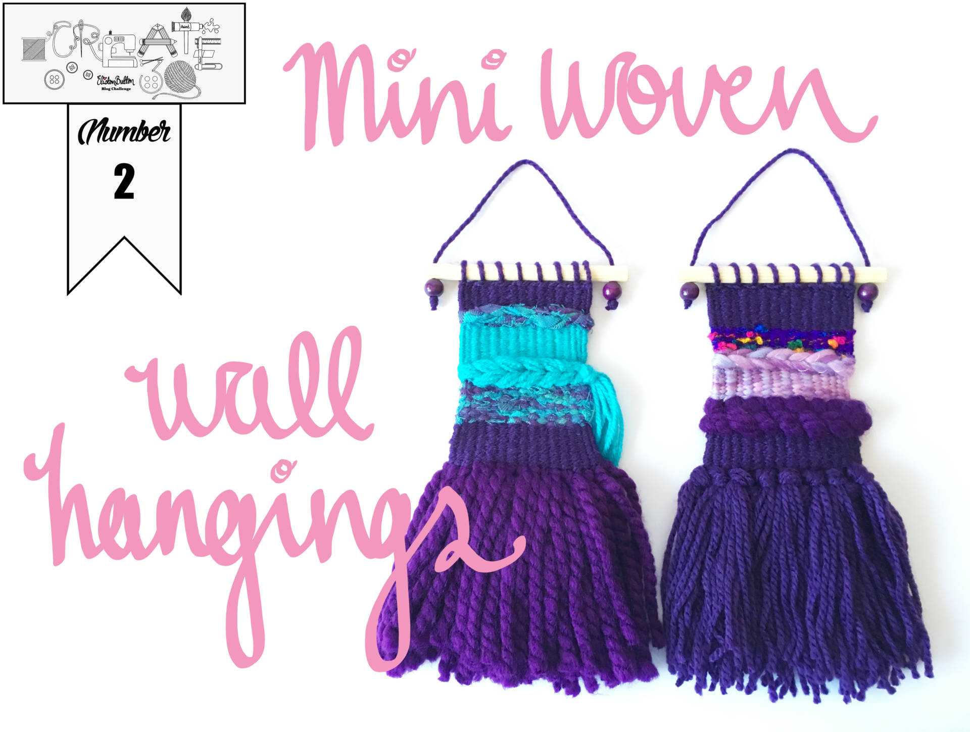 Create 30 - No.2 - Purple Mini Woven Wall Hangings - Create 30 - No.2 - Mini Woven Wall Hangings at www.elistonbutton.com - Eliston Button - That Crafty Kid – Art, Design, Craft & Adventure.